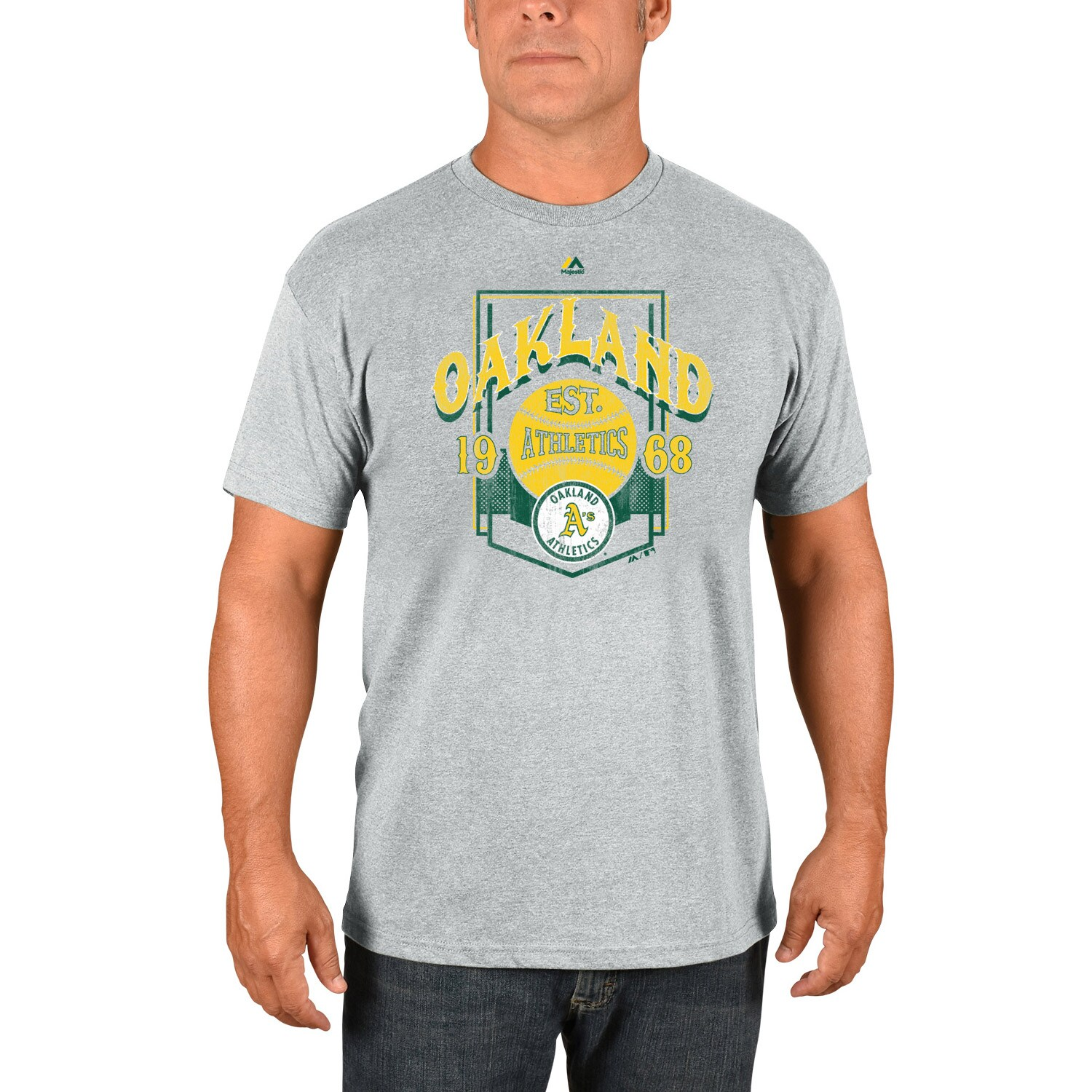Oakland Athletics Majestic Cooperstown Collection Vintage Style T-Shirt - Gray