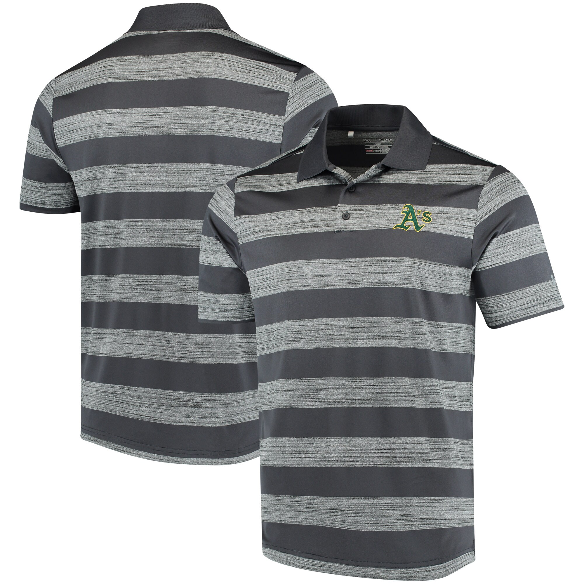 Oakland Athletics Under Armour Skyball Tonal Stripe Polo - Gray