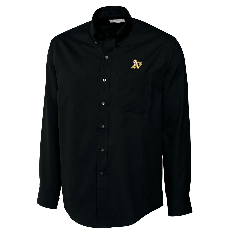 Oakland Athletics Cutter & Buck Big & Tall Epic Easy Care Fine Twill Long Sleeve Shirt - Black