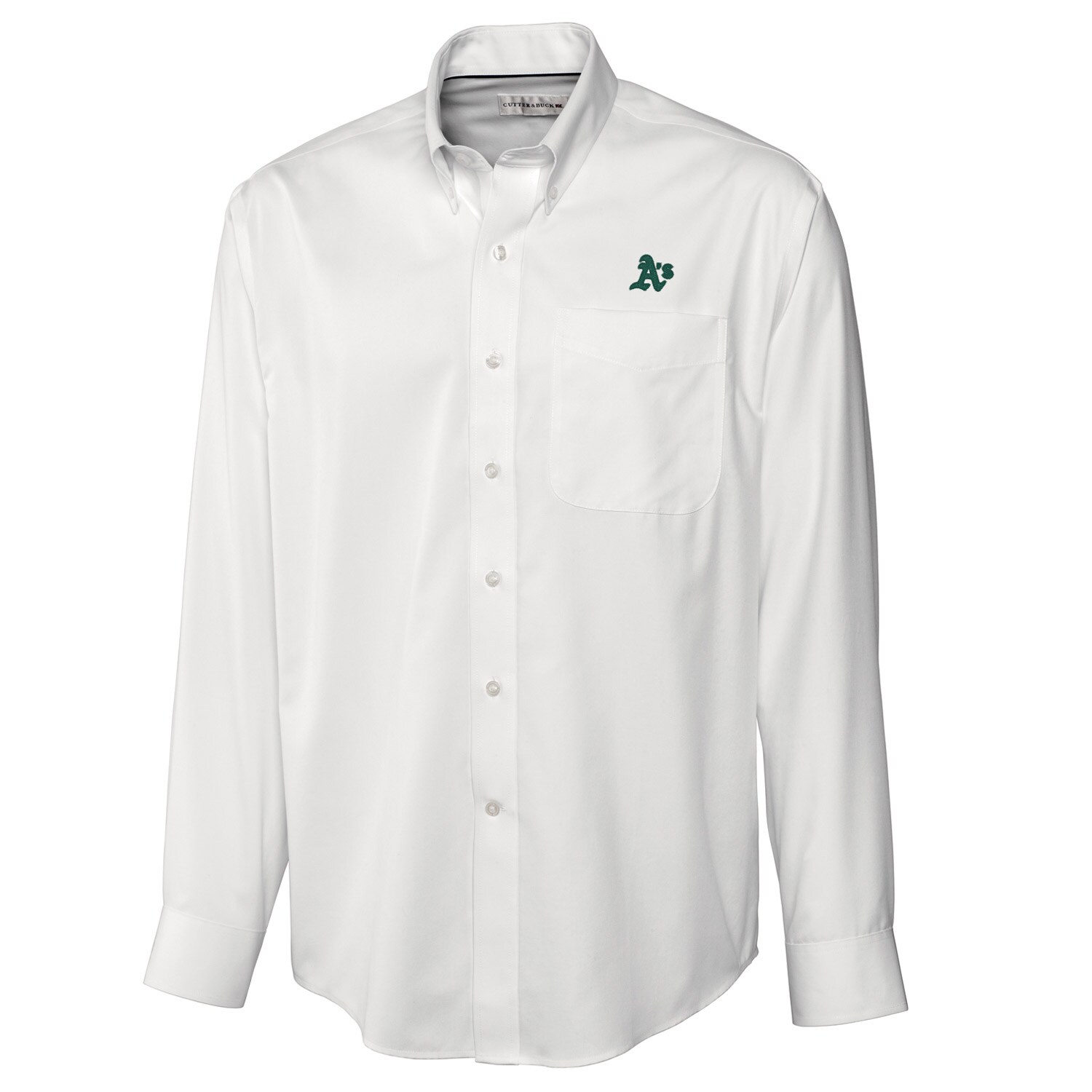 Oakland Athletics Cutter & Buck Big & Tall Epic Easy Care Fine Twill Long Sleeve Shirt - White