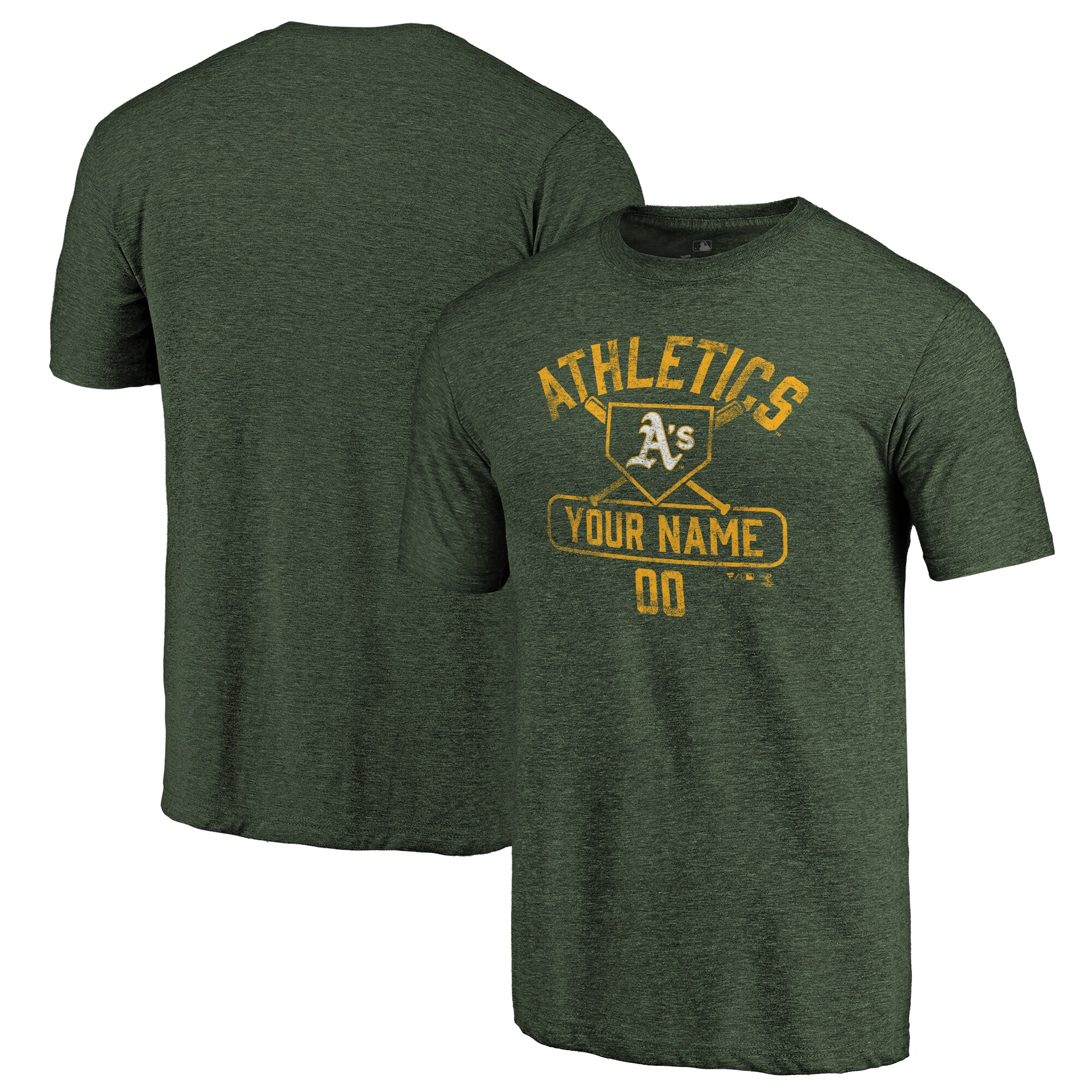 Oakland Athletics Fanatics Branded Personalized Base Runner Tri-Blend T-Shirt - Green
