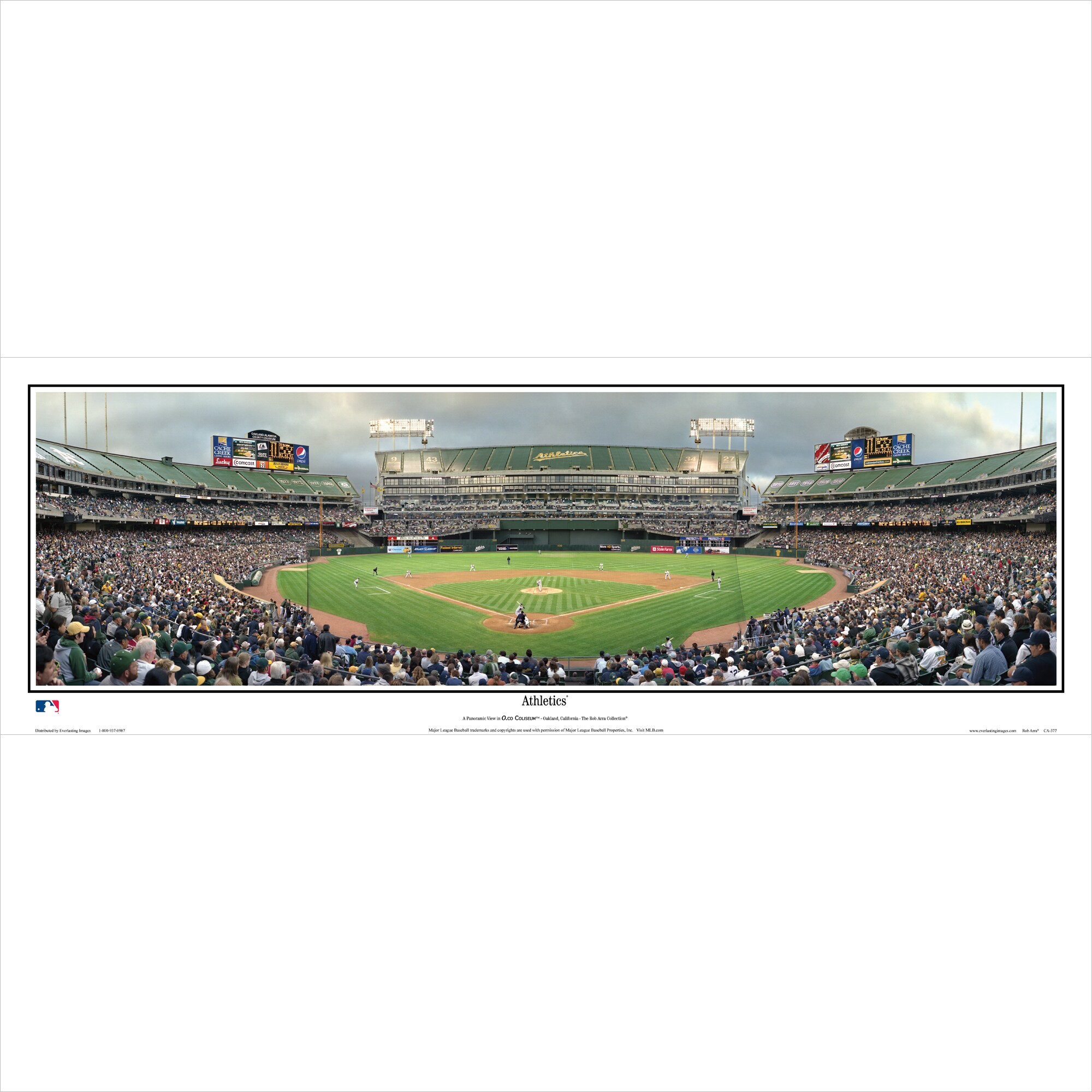 "Oakland Athletics 39"" x 13.5"" Standard Black Framed Panoramic"