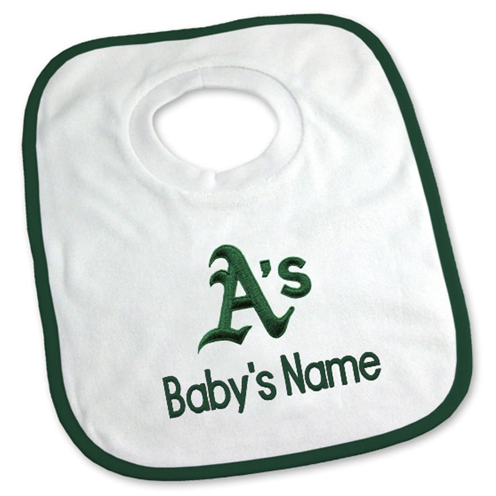 Oakland Athletics Newborn & Infant Personalized Bib - White