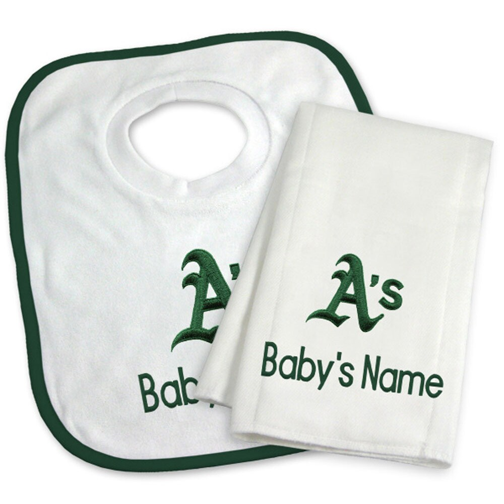 Oakland Athletics Newborn & Infant Personalized Bib & Burp Cloth Set - White