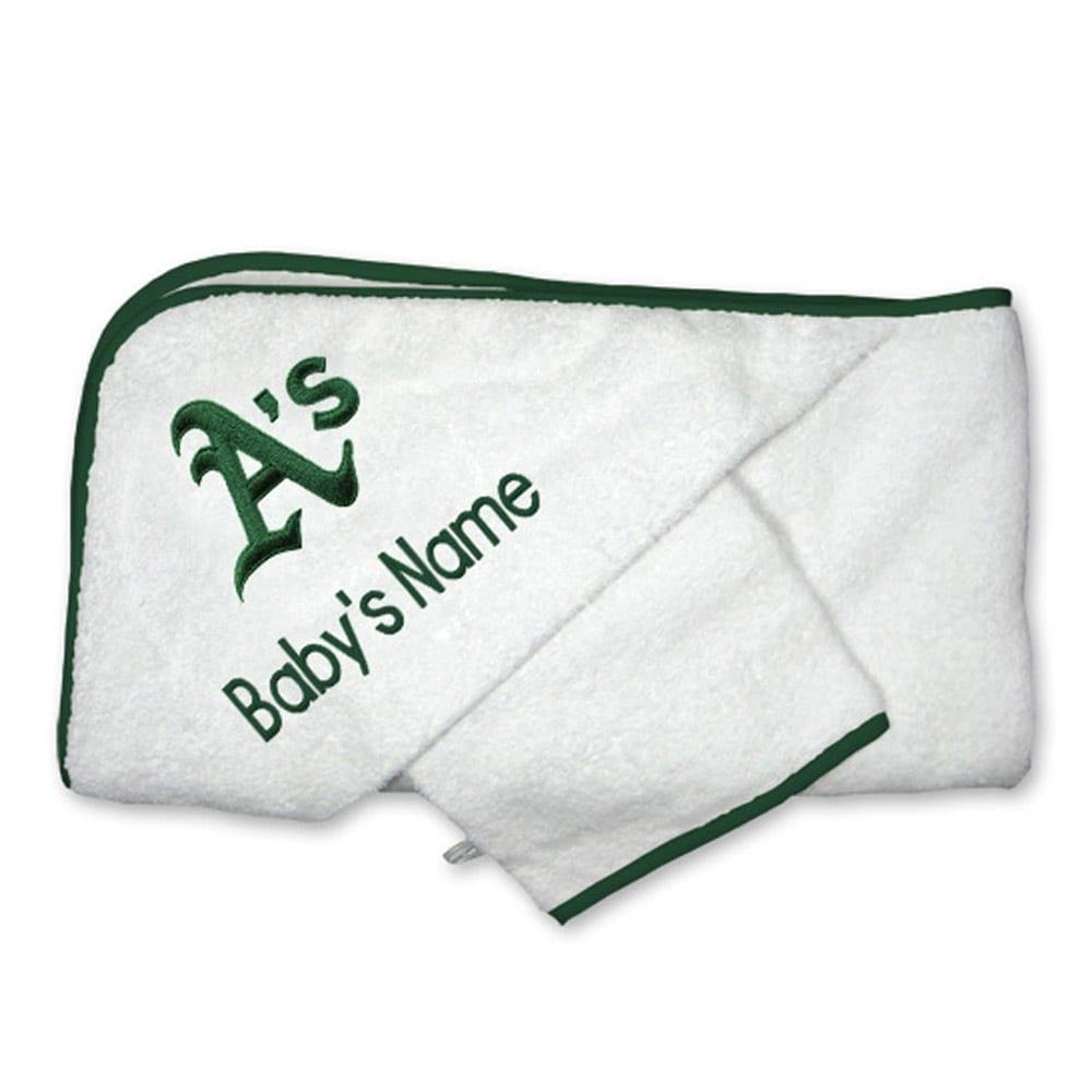 Oakland Athletics Infant Personalized Hooded Towel & Mitt Set - White