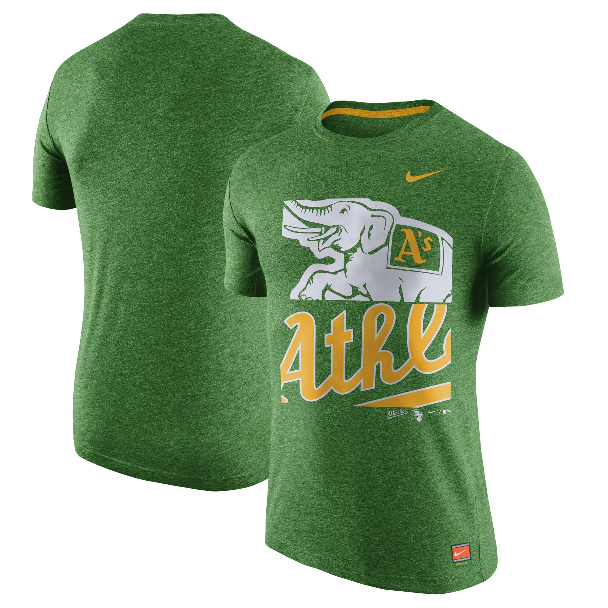 Oakland Athletics Nike Cooperstown Collection Logo Tri-Blend T-Shirt - Heathered Green