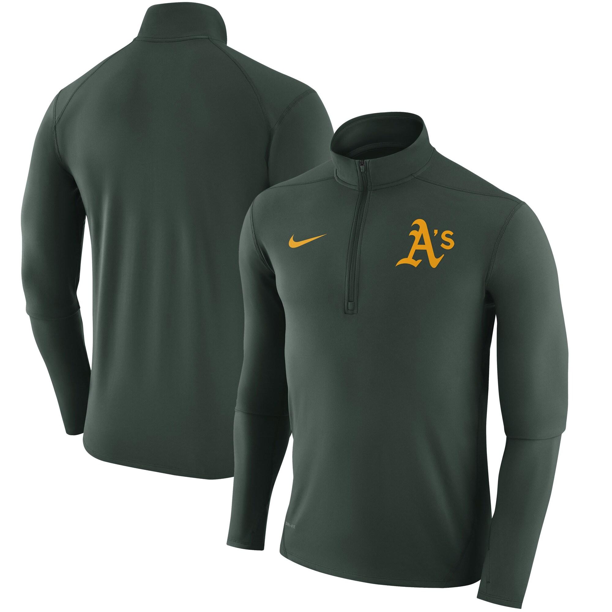 Oakland Athletics Nike Element Half-Zip Performance Top - Green