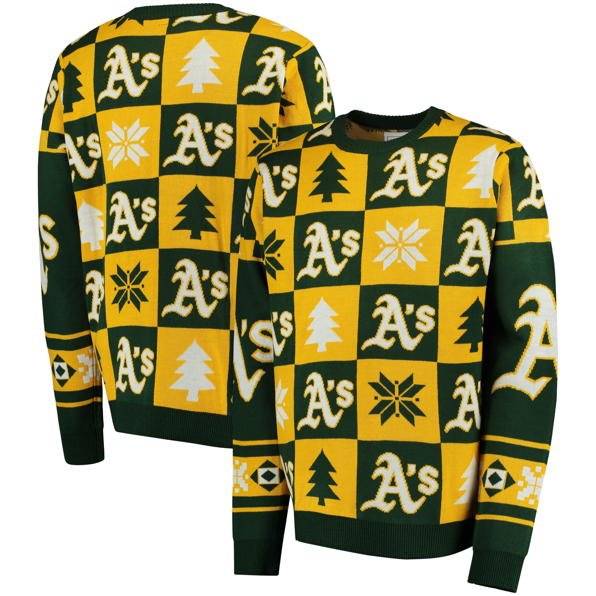 Oakland Athletics Patches Ugly Pullover Sweater - Green