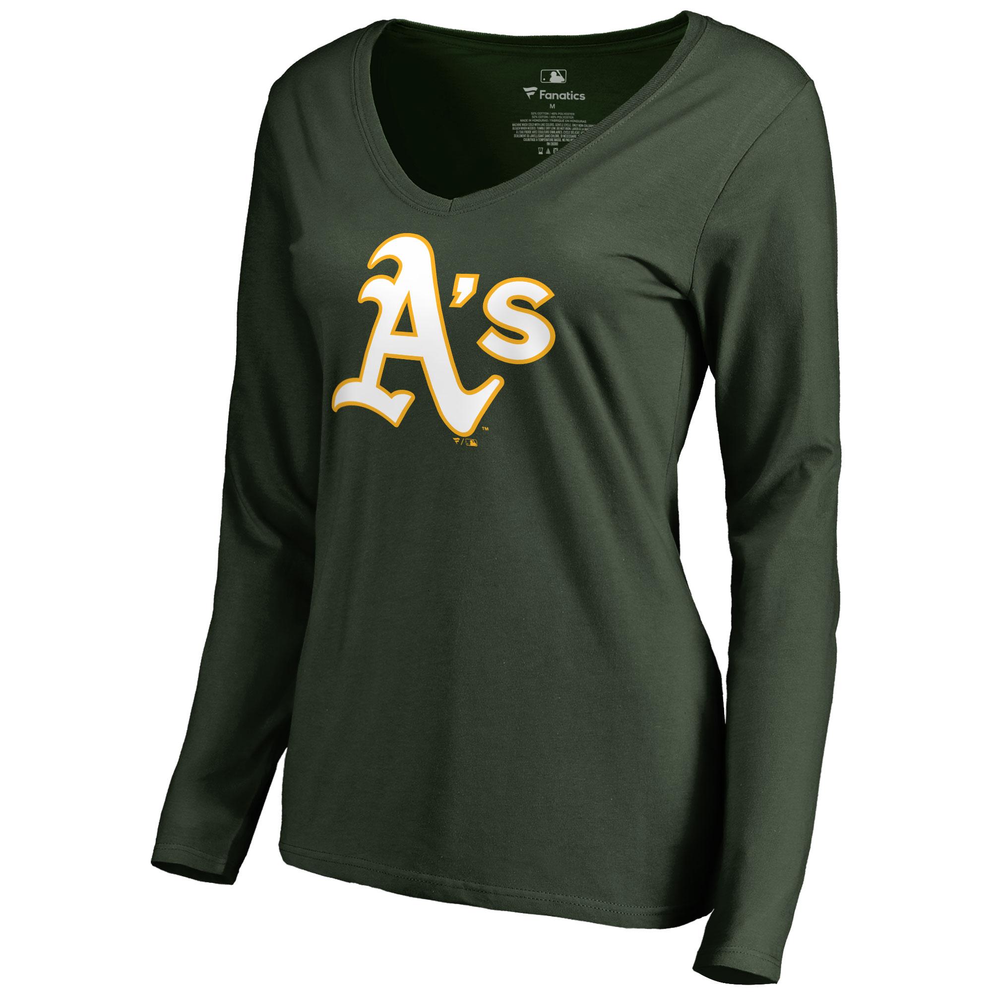 Oakland Athletics Women's Team Color Primary Logo V-Neck Long Sleeve T-Shirt - Green