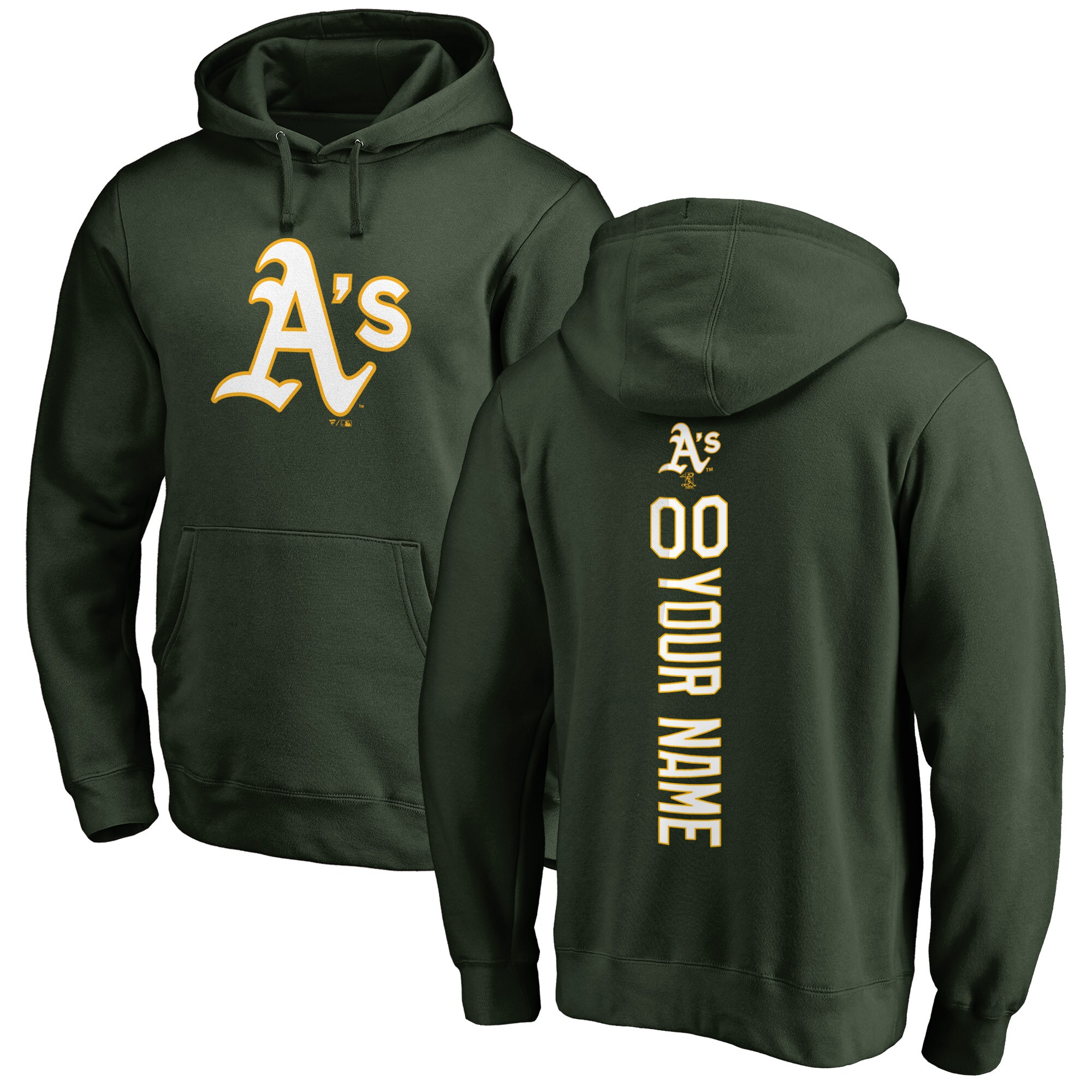 Oakland Athletics Fanatics Branded Personalized Playmaker Pullover Hoodie - Green