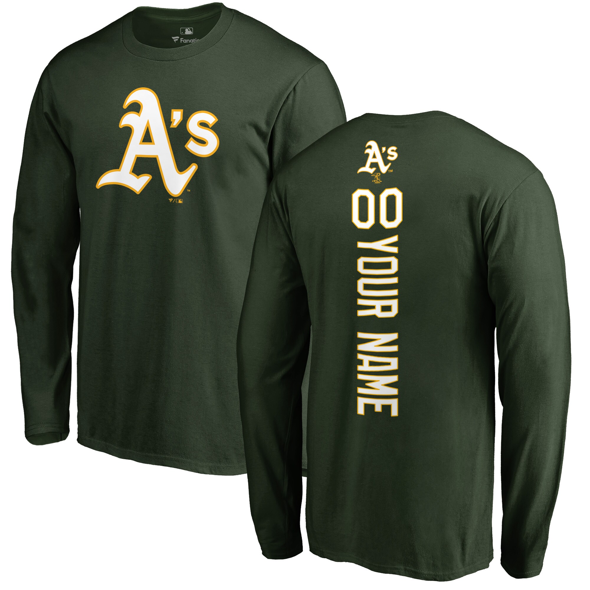 Oakland Athletics Fanatics Branded Personalized Playmaker Long Sleeve T-Shirt - Green