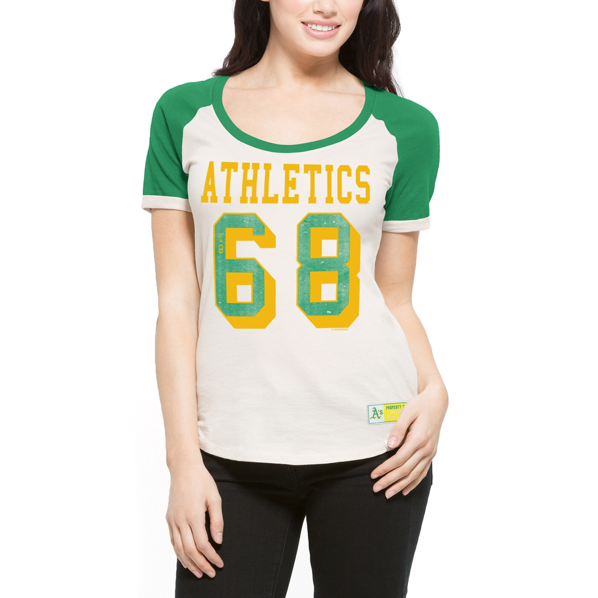 Oakland Athletics '47 Women's Triple Play Scoop T-Shirt - Cream