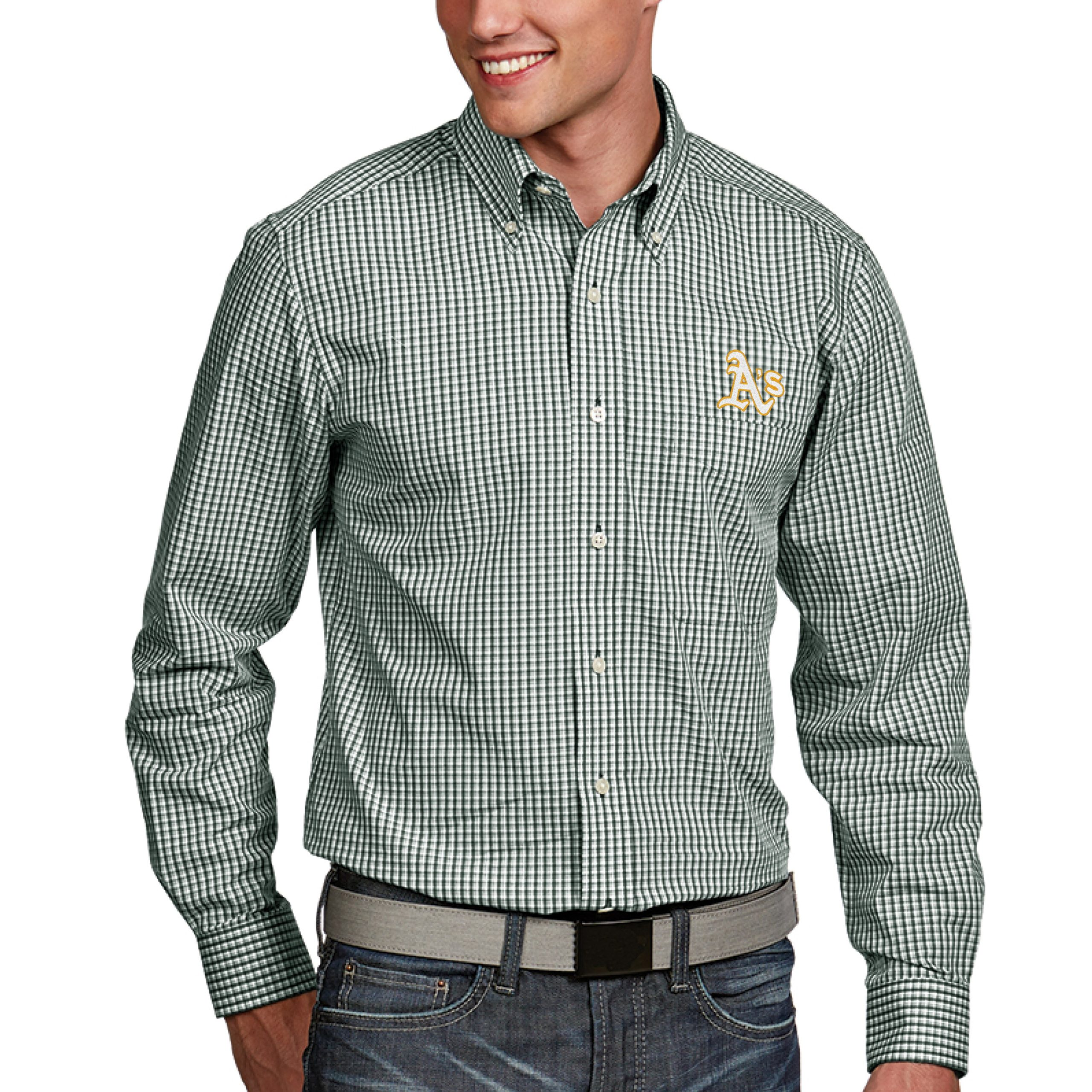 Oakland Athletics Antigua Associate Button-Down Dress Long Sleeve Shirt - Green