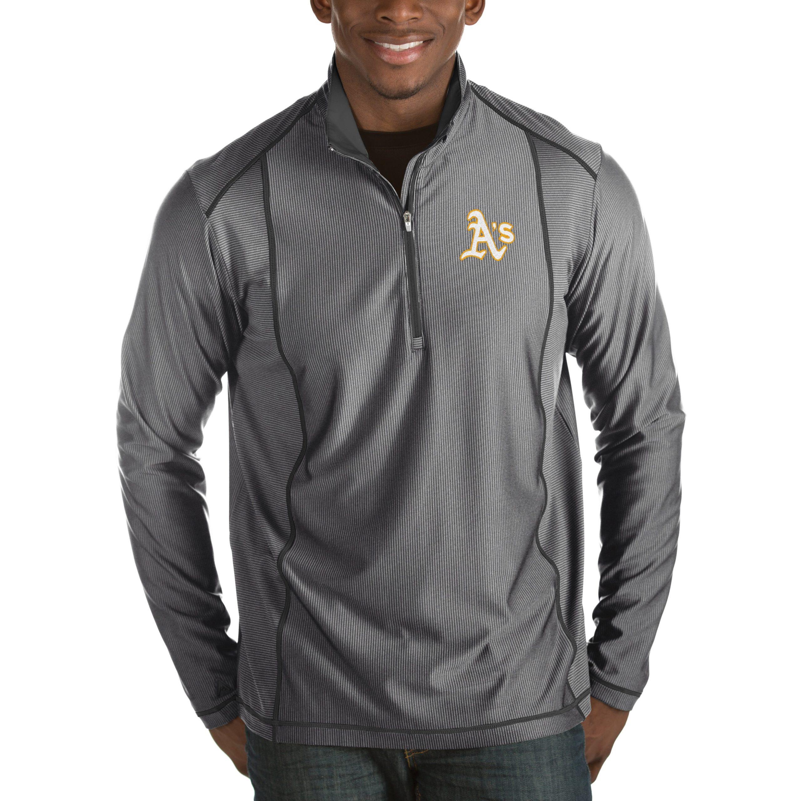 Oakland Athletics Antigua Tempo Half-Zip Pullover Jacket - Heathered Charcoal
