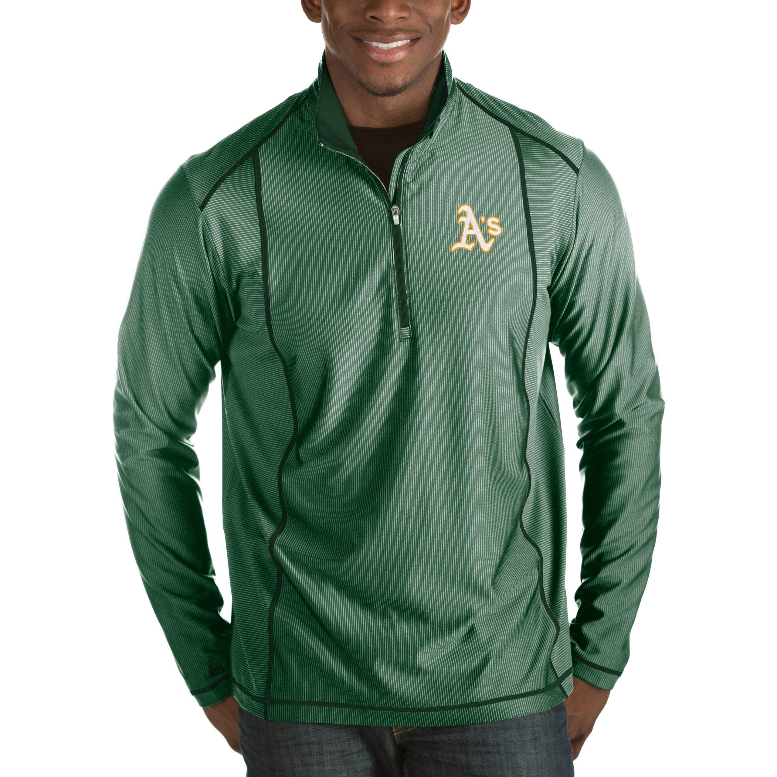 Oakland Athletics Antigua Tempo Half-Zip Pullover Jacket - Heathered Green
