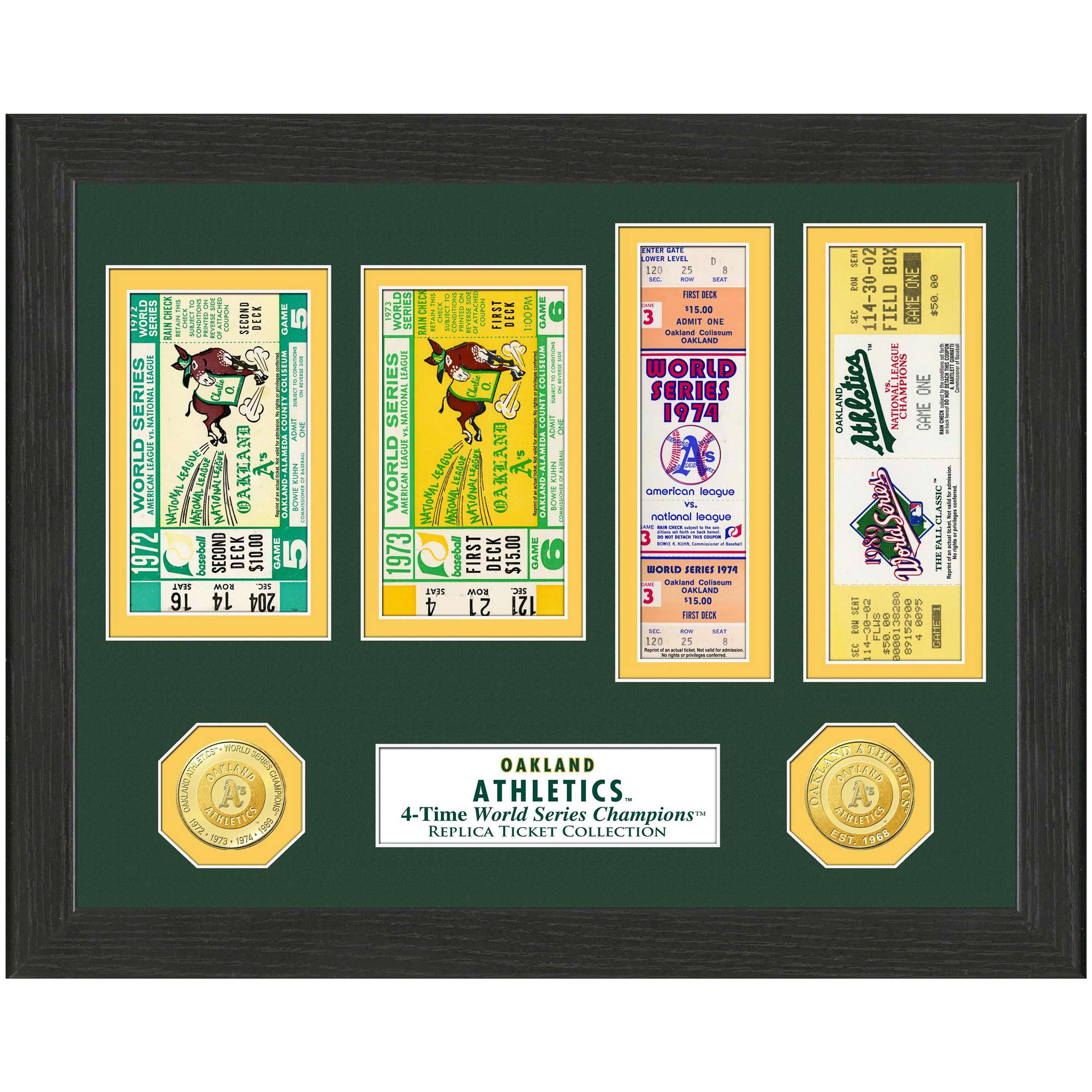 "Oakland Athletics Highland Mint 13"" x 13"" World Series Ticket Collection"