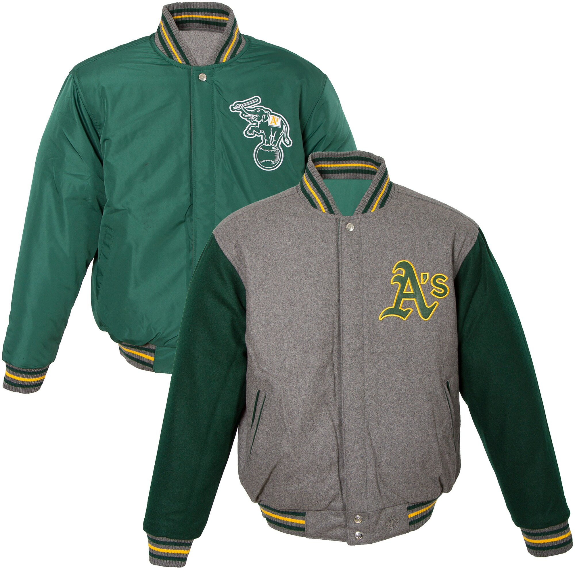 Oakland Athletics JH Design Youth Wool Reversible Varsity Full-Snap Jacket - Gray/Green