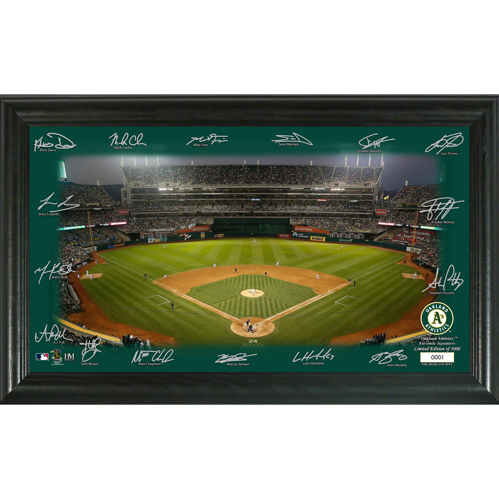 Oakland Athletics Highland Mint 12'' x 20'' Signature Field Limited Editon Framed Photo Mint