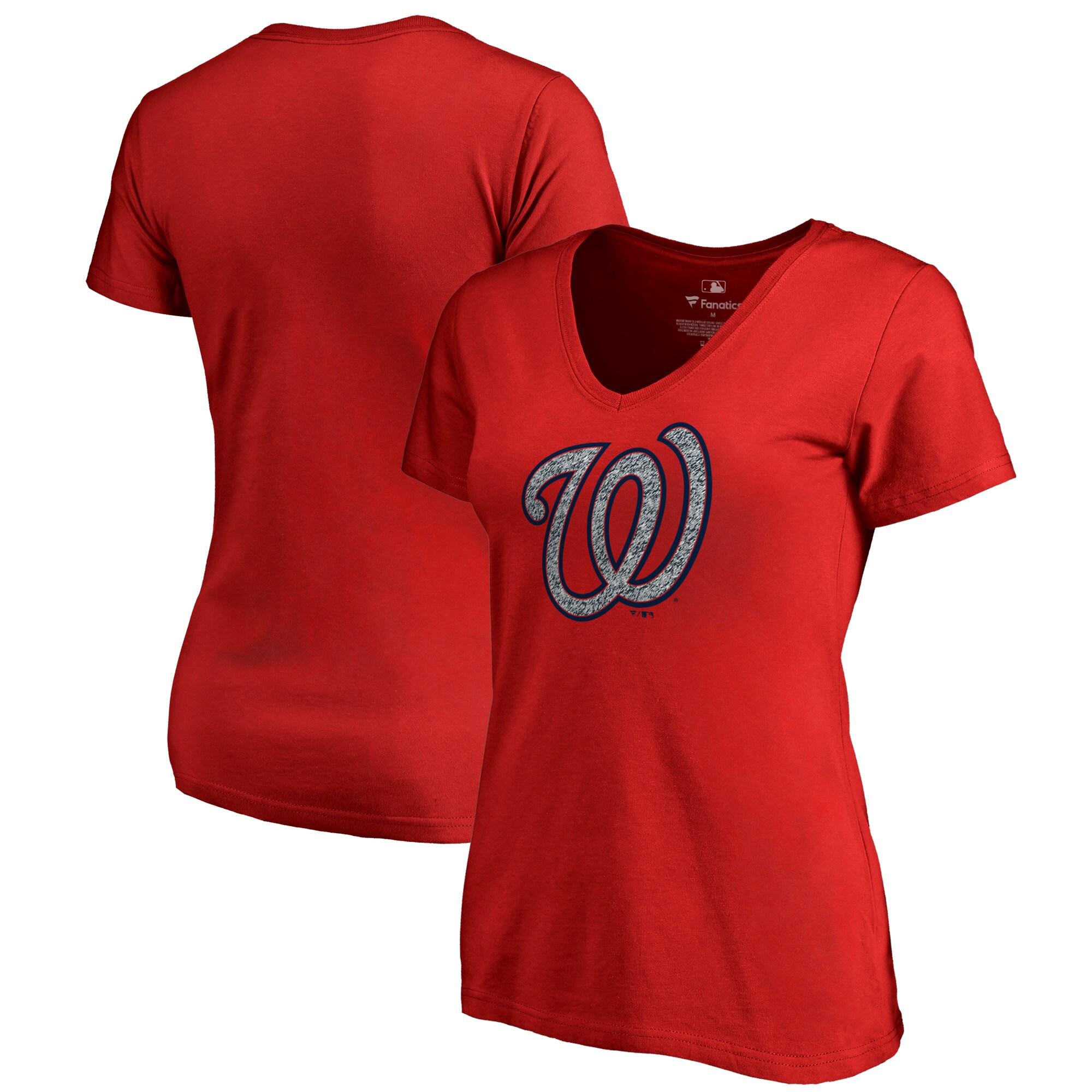 Washington Nationals Fanatics Branded Women's Static Logo V-Neck T-Shirt - Red