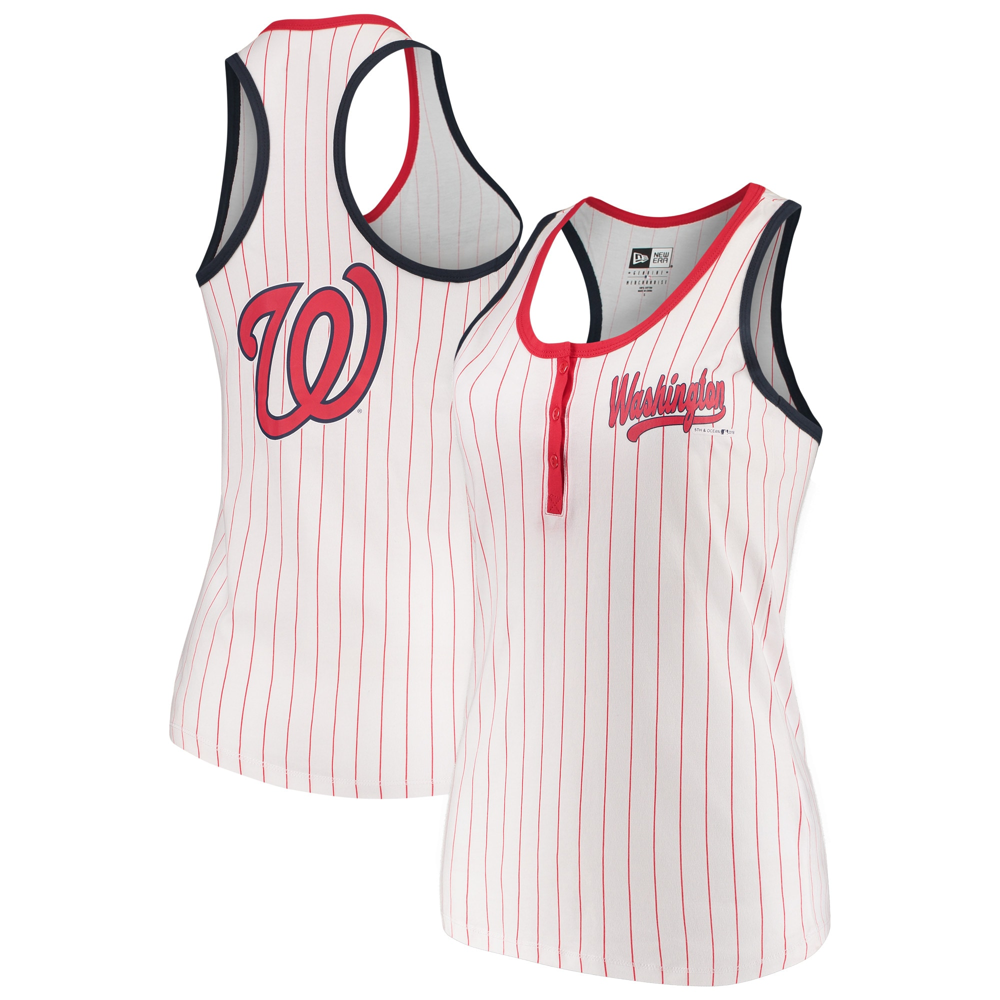 Washington Nationals 5th & Ocean by New Era Women's Pinstripe Henley Racerback Tank Top - White