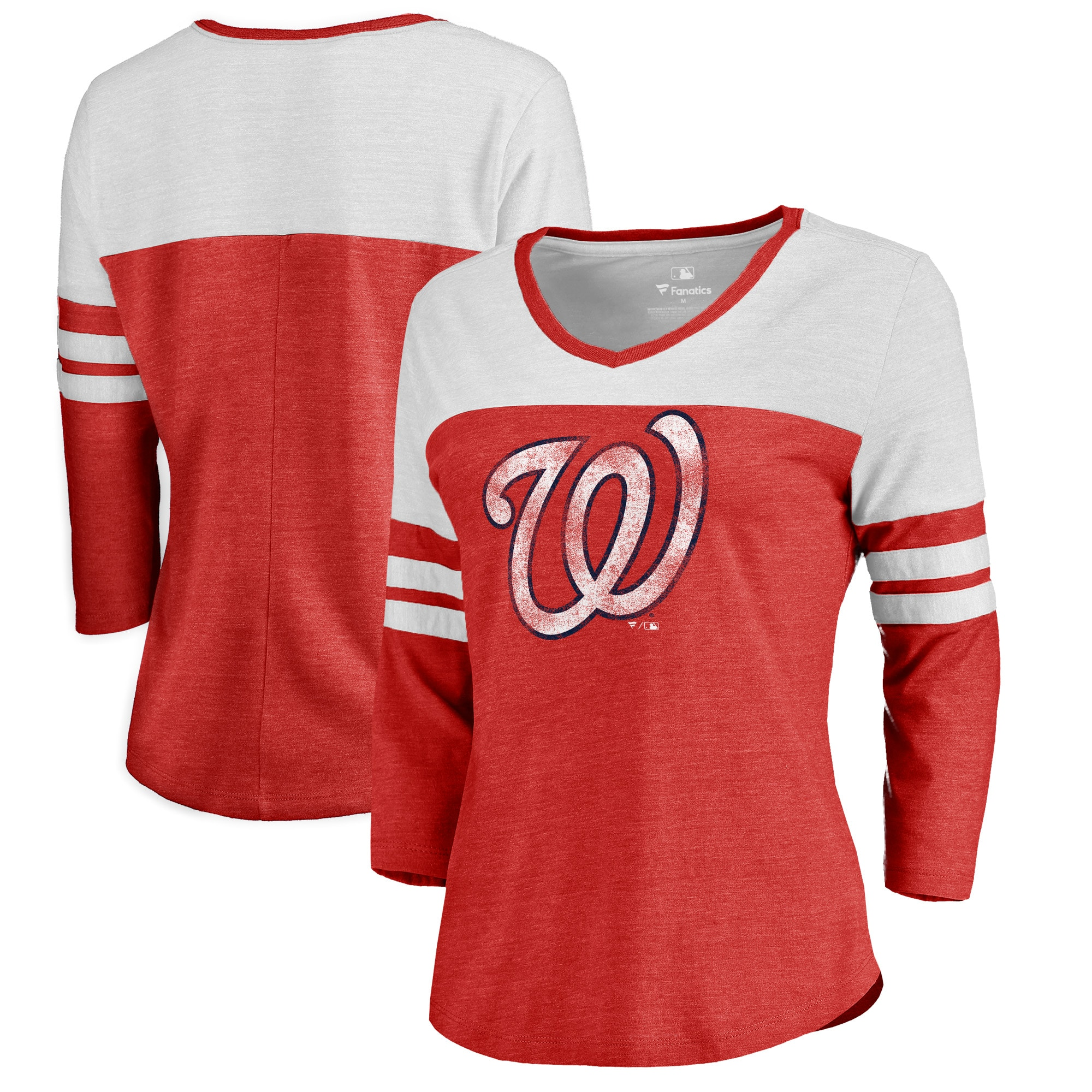 Washington Nationals Fanatics Branded Women's Distressed Team Logo 3/4 Sleeve Tri-Blend T-Shirt - Red/White