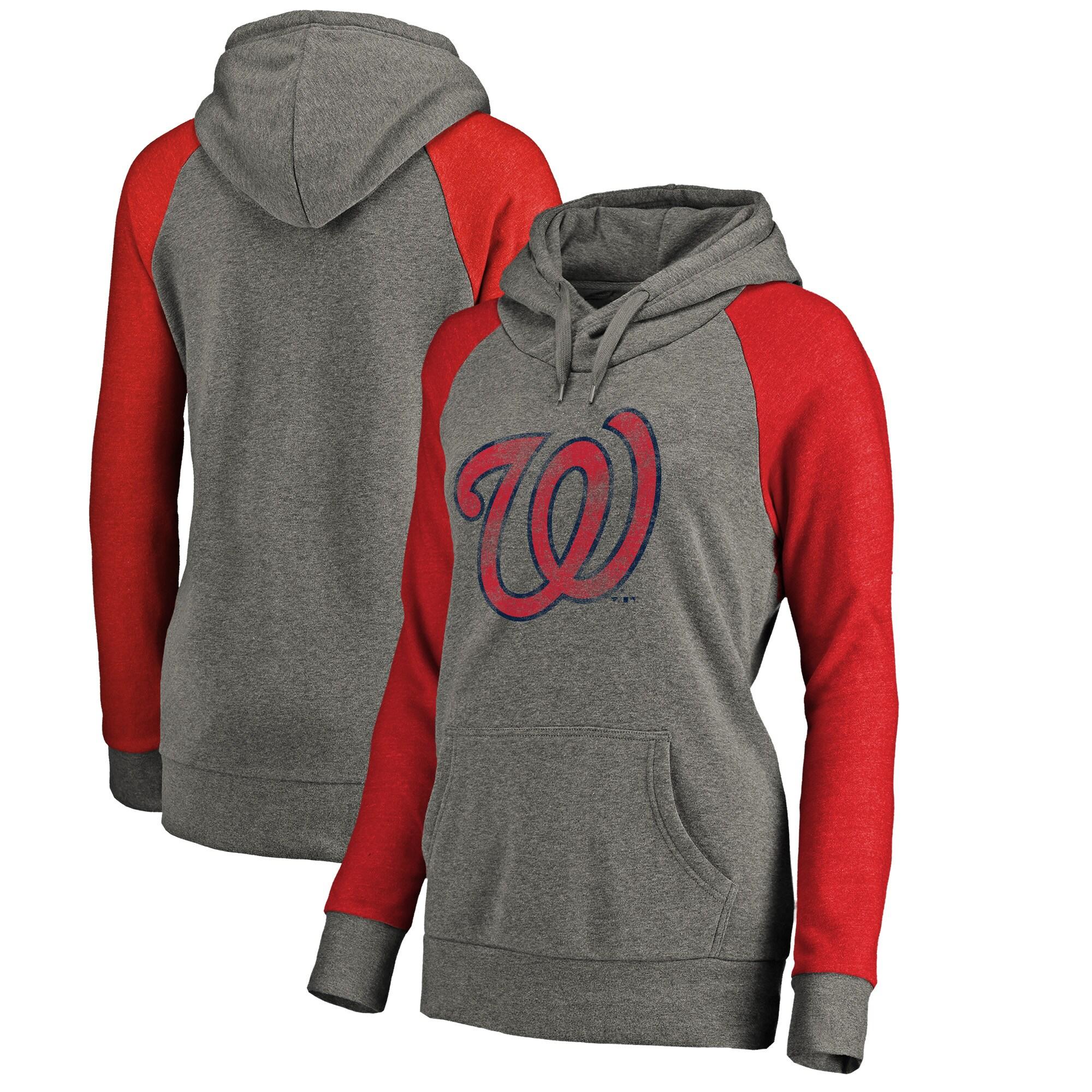 Washington Nationals Fanatics Branded Women's Distressed Team Logo Tri-Blend Raglan Pullover Hoodie - Gray/Red