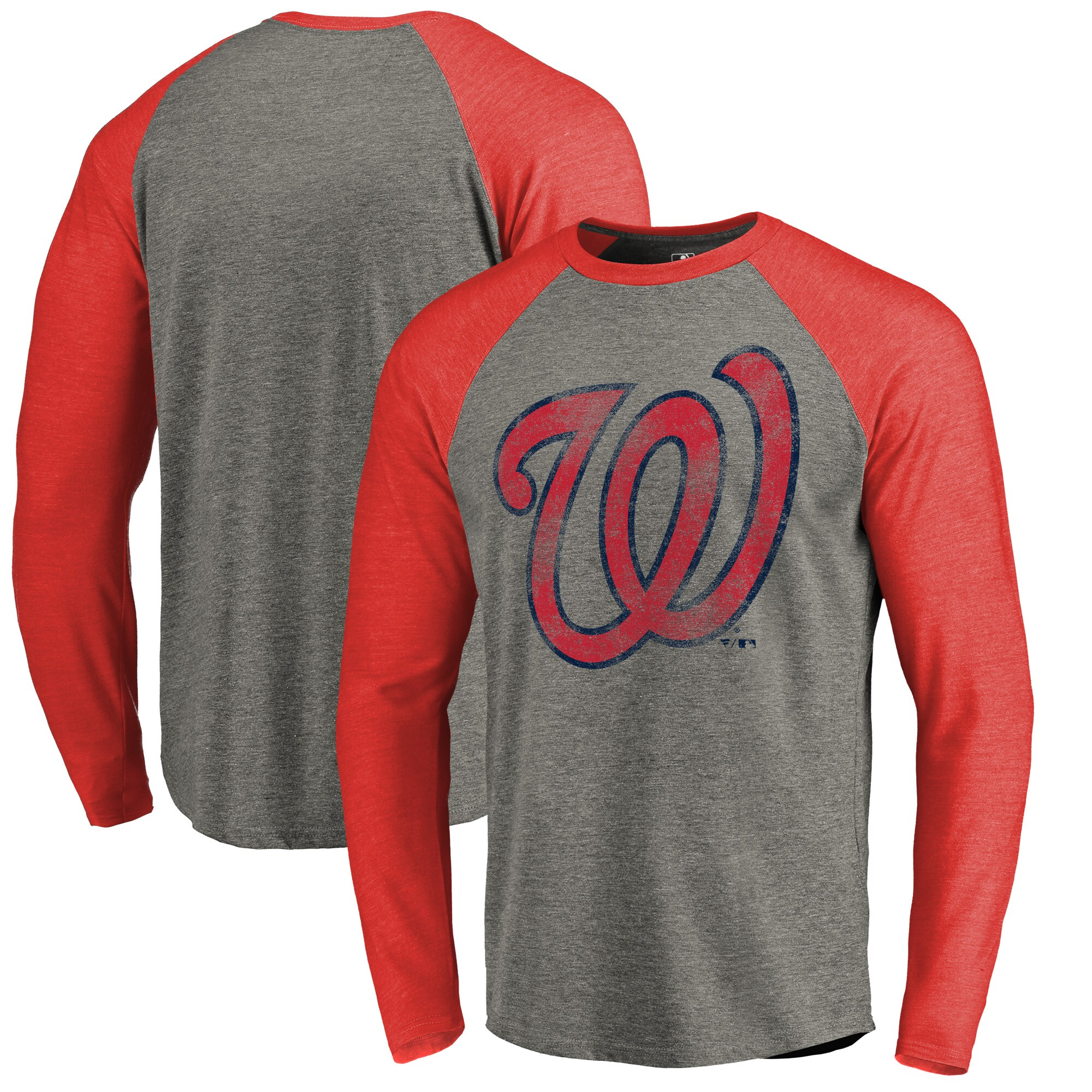 Washington Nationals Fanatics Branded Distressed Team Big & Tall Long Sleeve Tri-Blend Raglan T-Shirt - Gray/Red