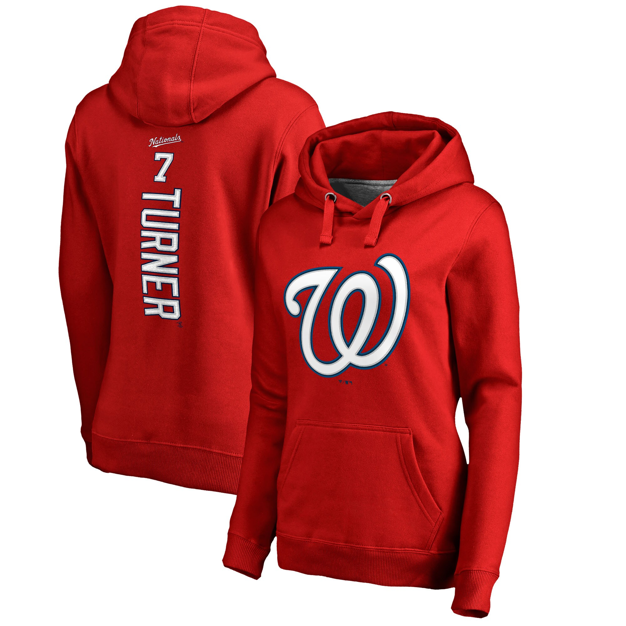 Trea Turner Washington Nationals Fanatics Branded Women's Backer Pullover Hoodie - Red