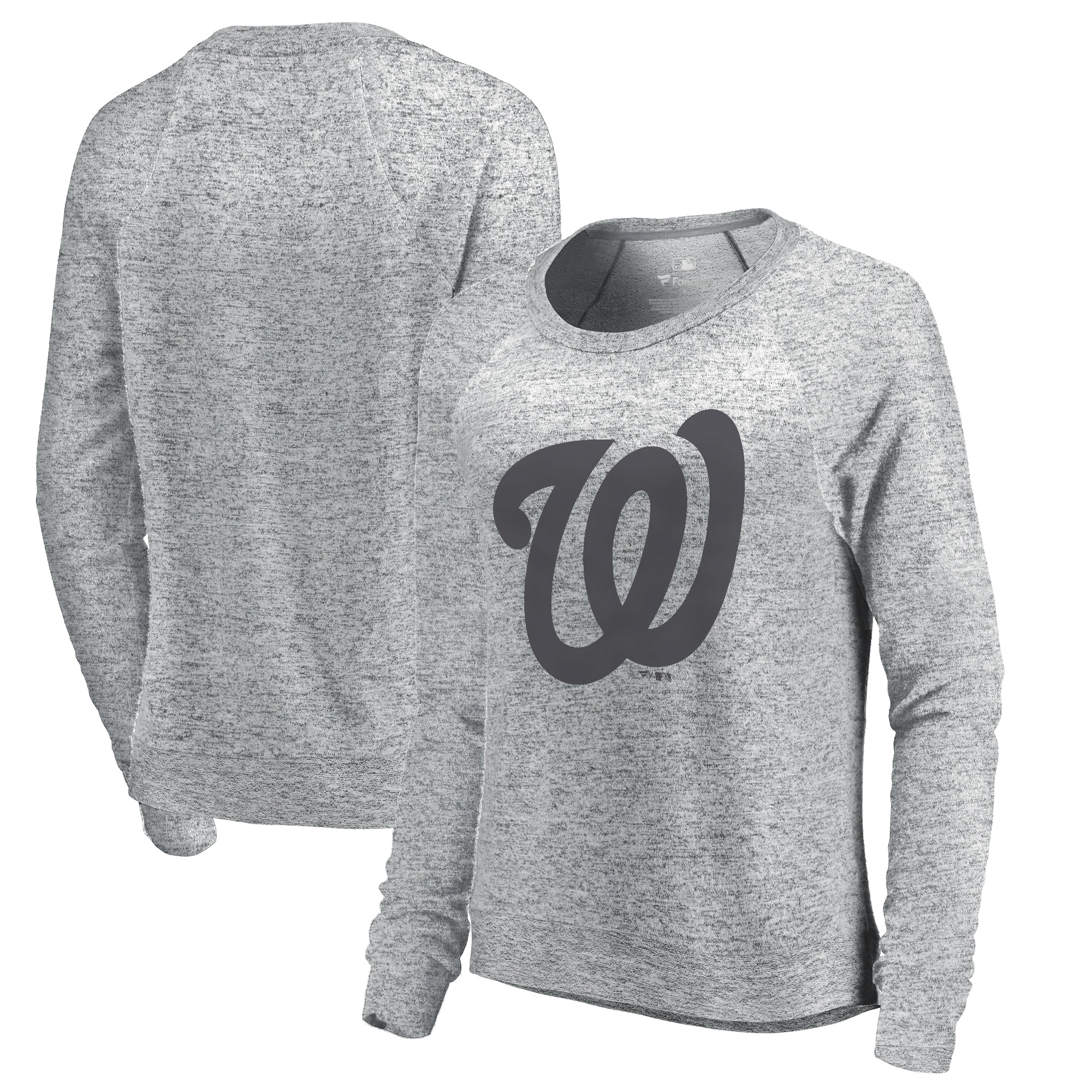 Washington Nationals Let Loose by RNL Women's Cozy Collection Plush Raglan Tri-Blend Sweatshirt - Ash