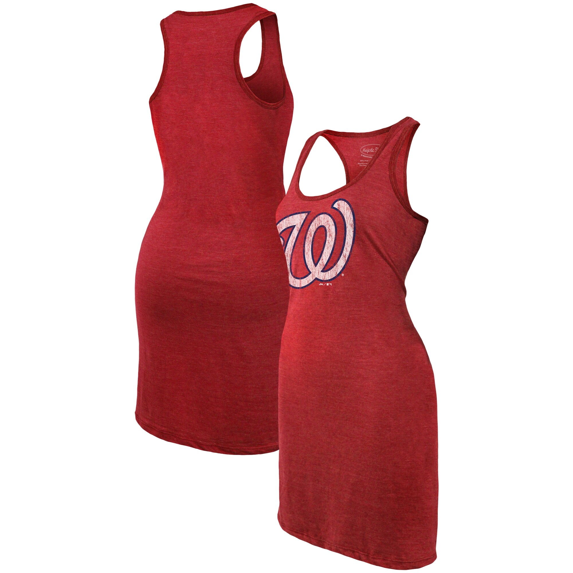 Washington Nationals Majestic Threads Women's Tri-Blend Racerback Sleeveless Dress - Red