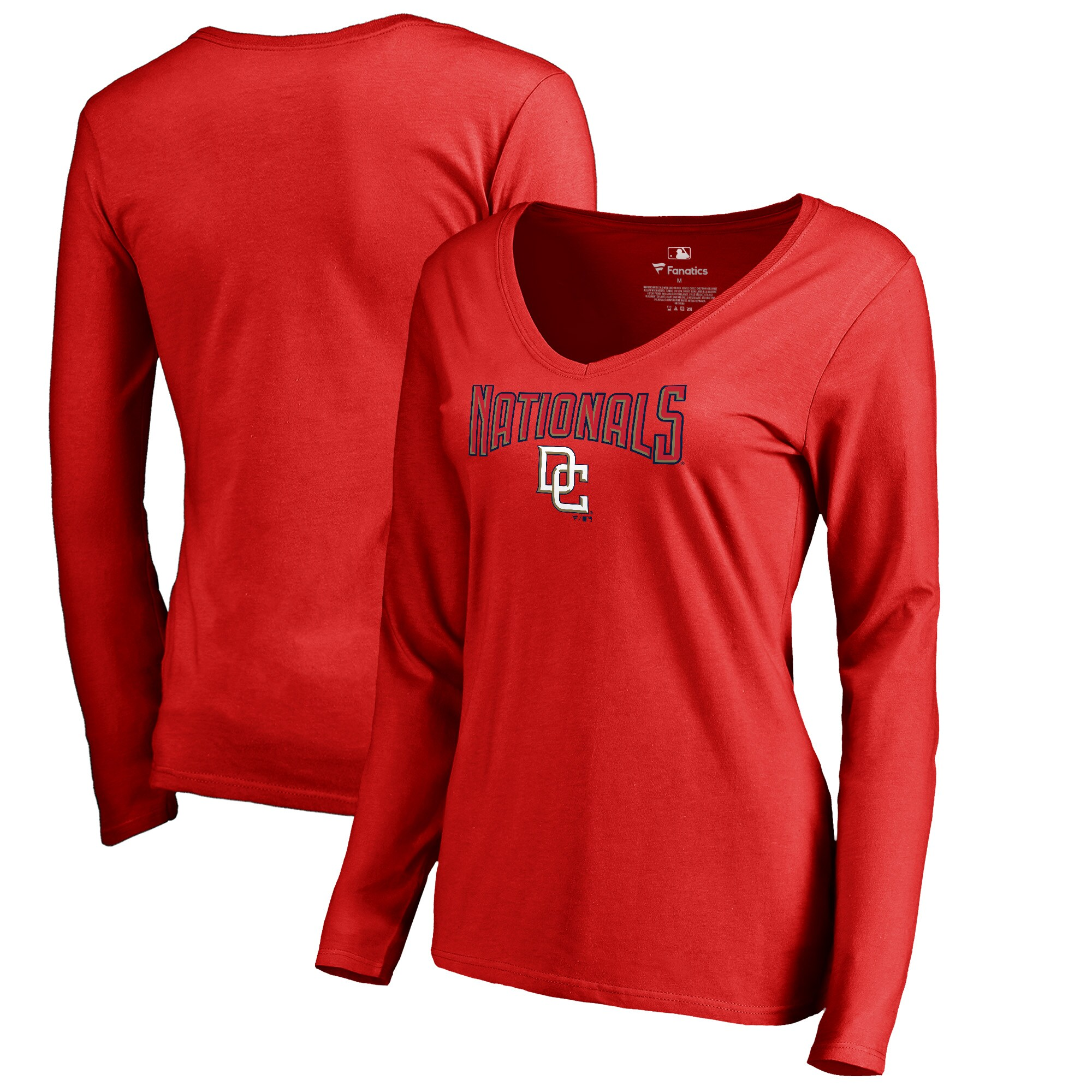 Washington Nationals Fanatics Branded Women's Cooperstown Collection Wahconah Long Sleeve V-Neck T-Shirt - Red