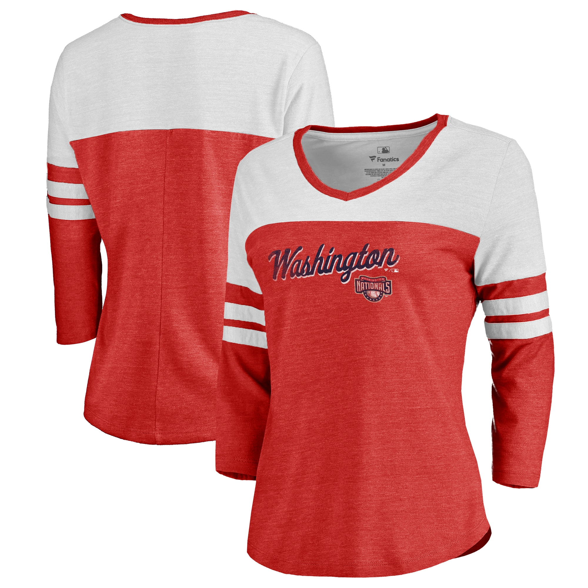 Fanatics Branded Washington Nationals Women's Red Rising Script Color Block 3/4 Sleeve Tri-Blend T-Shirt