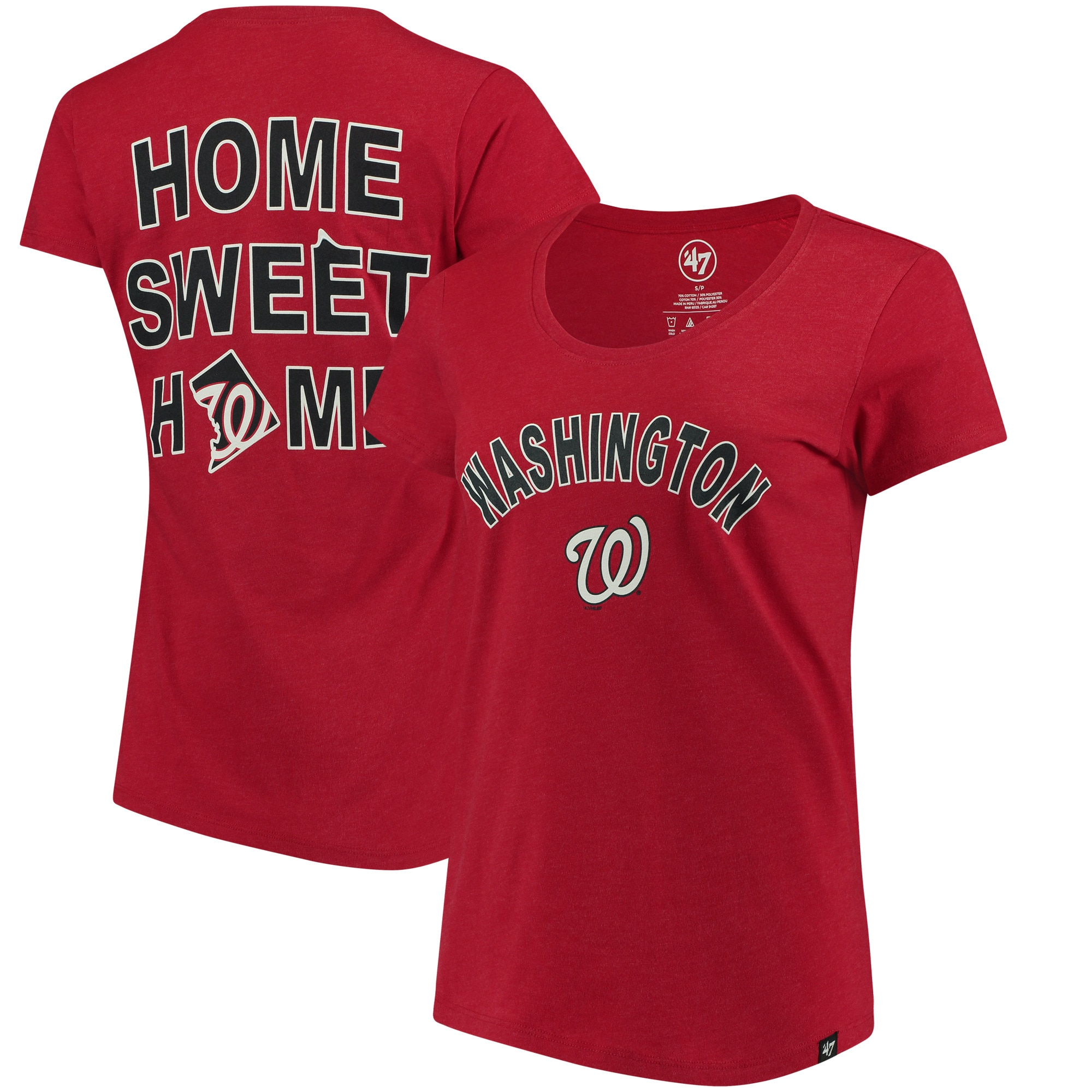 Washington Nationals '47 Women's Club Scoop Neck T-Shirt - Red