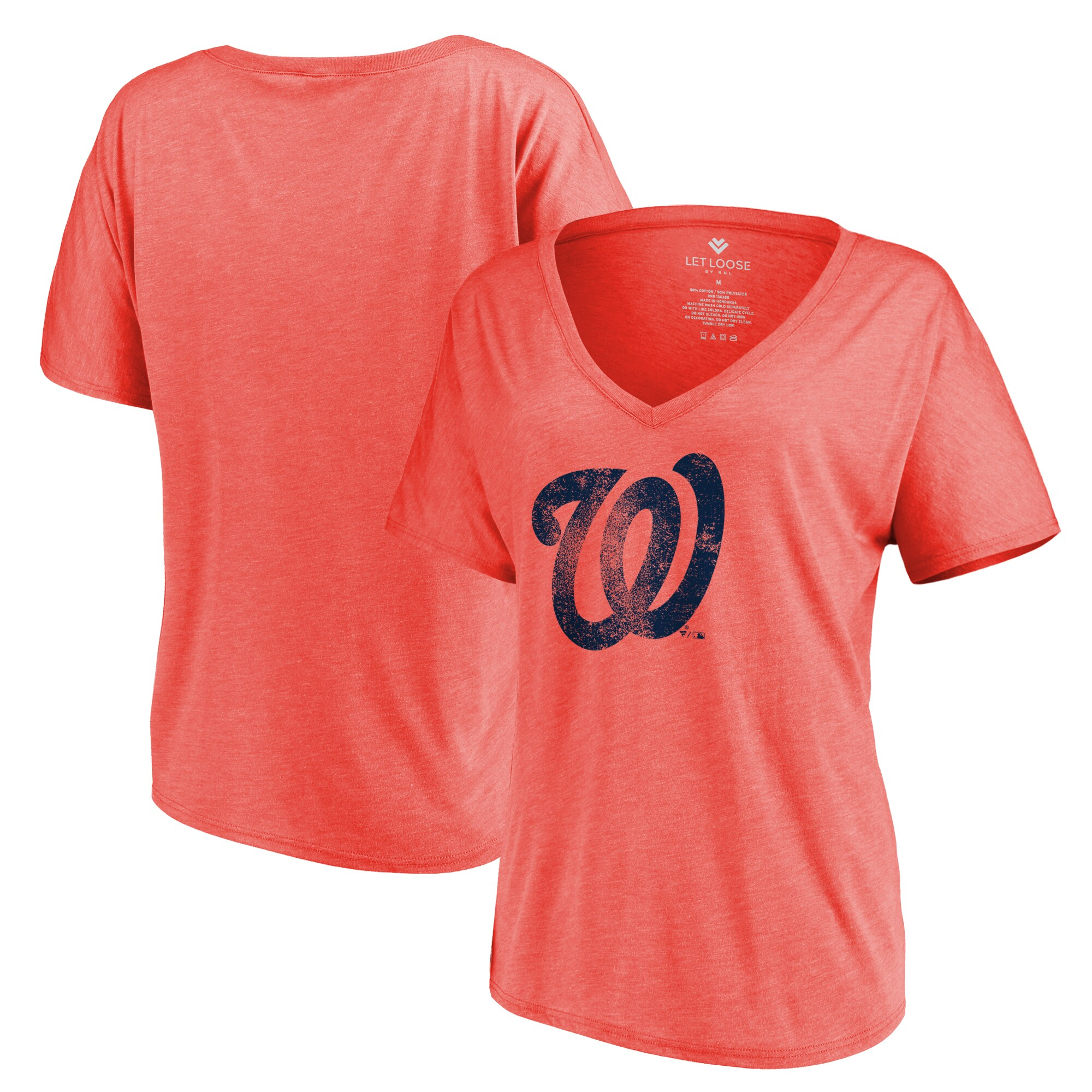 Washington Nationals Let Loose by RNL Women's Distressed Primary Logo T-Shirt - Red