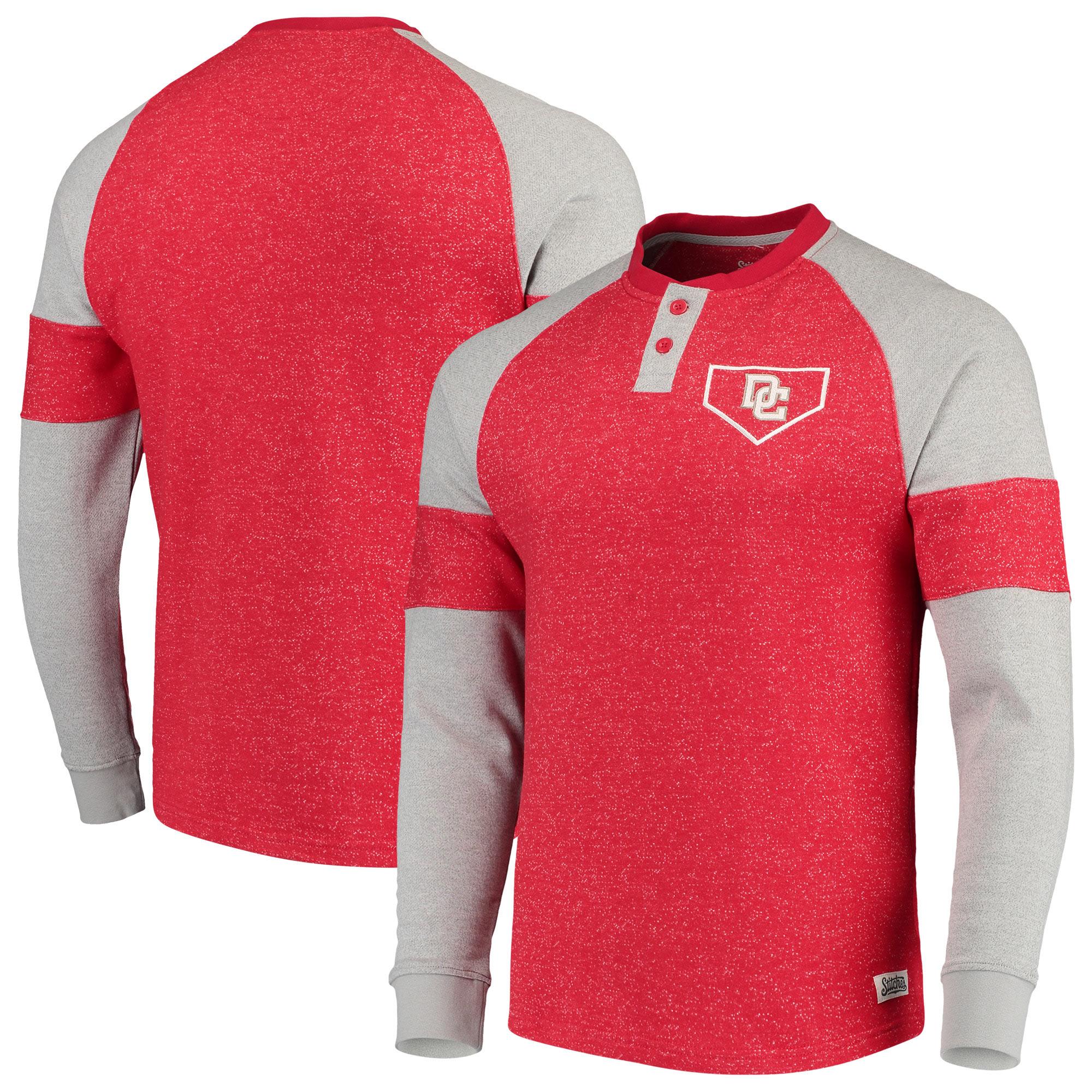 Washington Nationals Stitches Twisted Yarn Henley Long Sleeve T-Shirt - Red