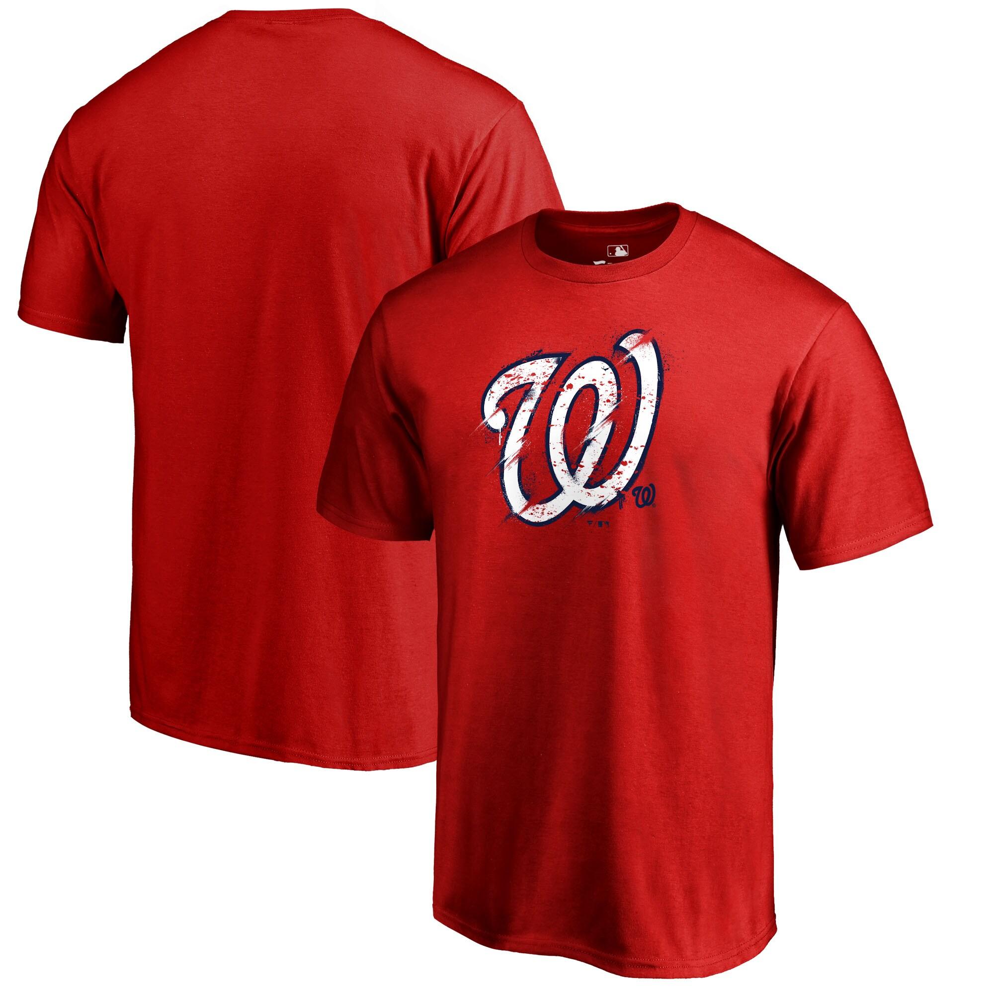 Washington Nationals Fanatics Branded Splatter Logo T-Shirt - Red