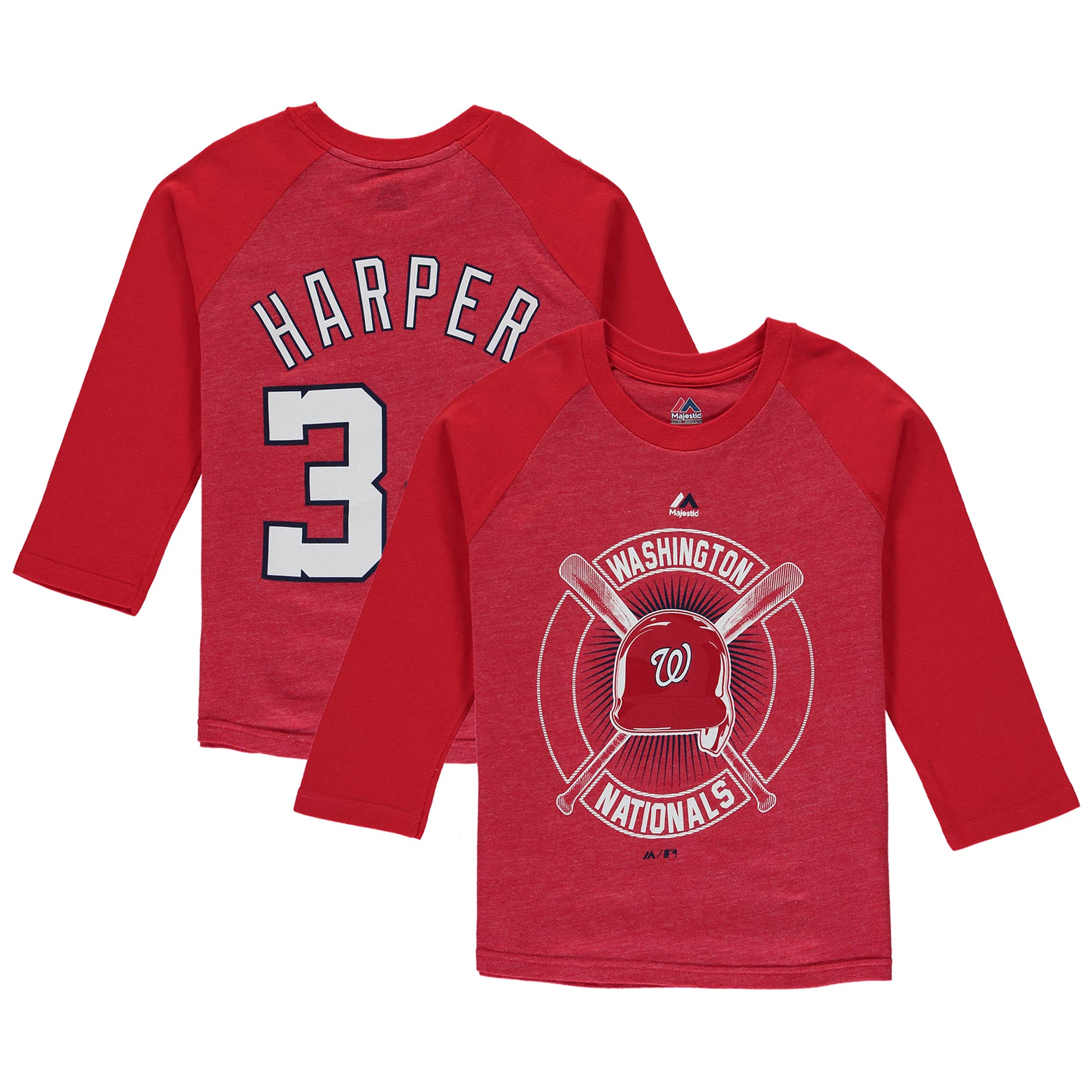 Bryce Harper Washington Nationals Youth Name & Number Tri-Blend 3/4-Sleeve Raglan T-Shirt - Red