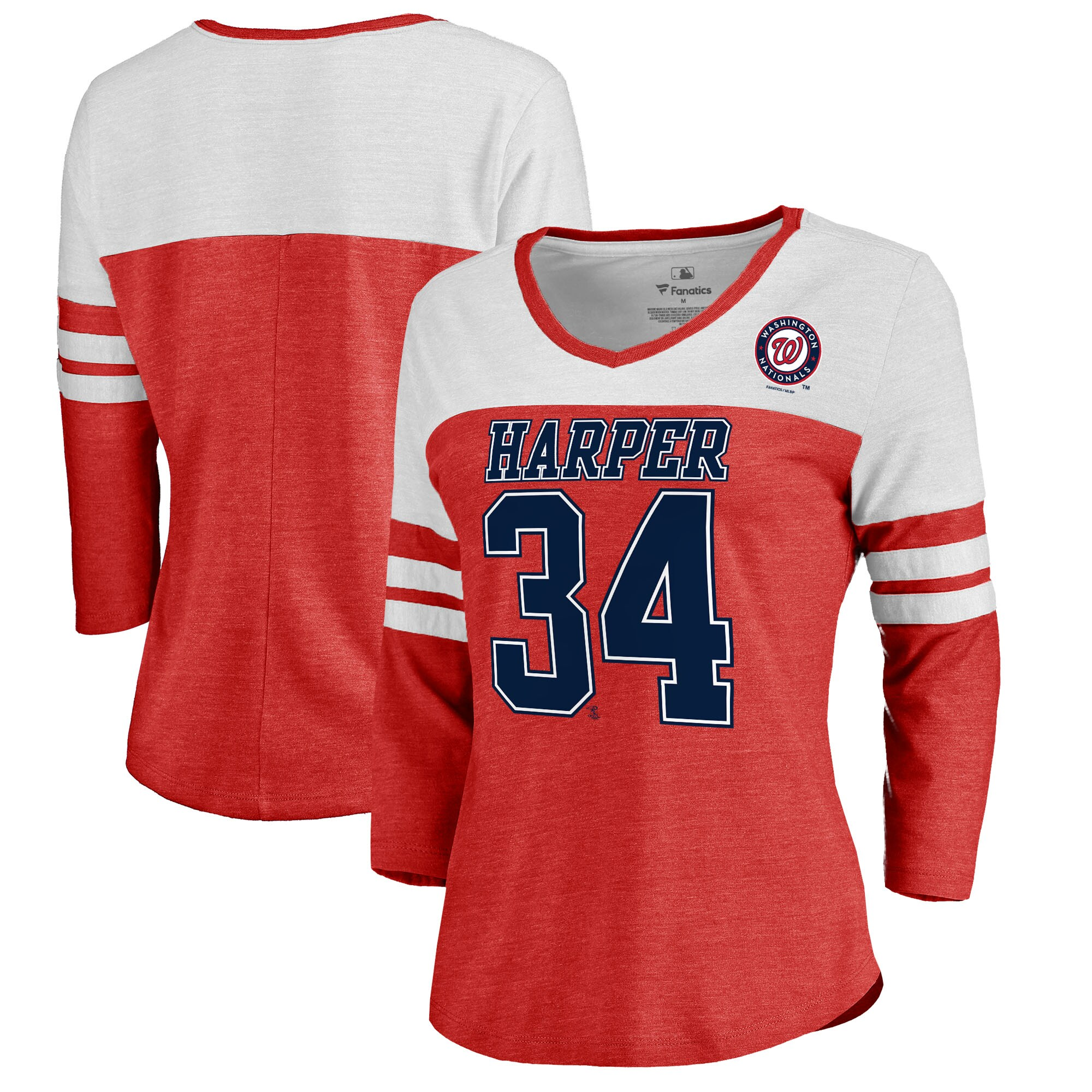 Bryce Harper Washington Nationals Fanatics Branded Women's Ace Name & Number 3/4-Sleeve V-Neck T-Shirt - Red/White