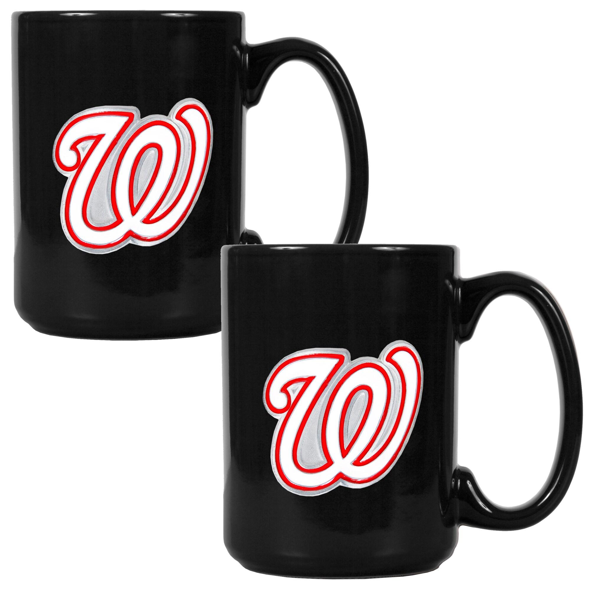 Washington Nationals 15oz. Coffee Mug Set - Black