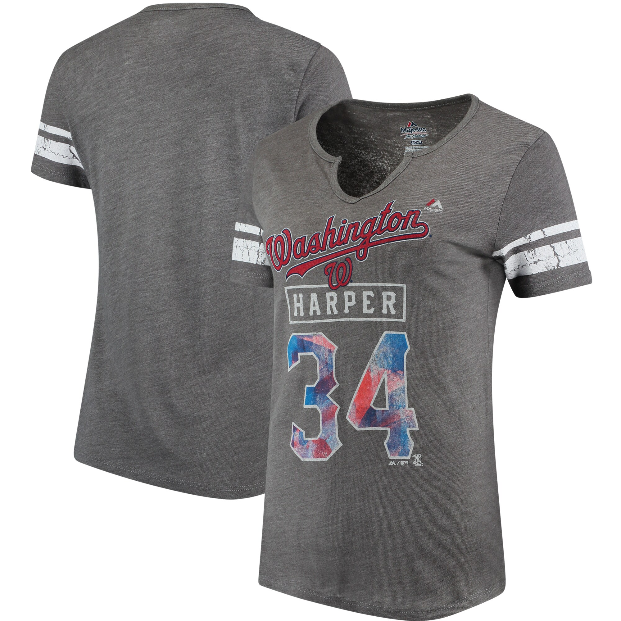 Bryce Harper Washington Nationals Majestic Women's Knucklecurve V-Notch T-Shirt - Gray