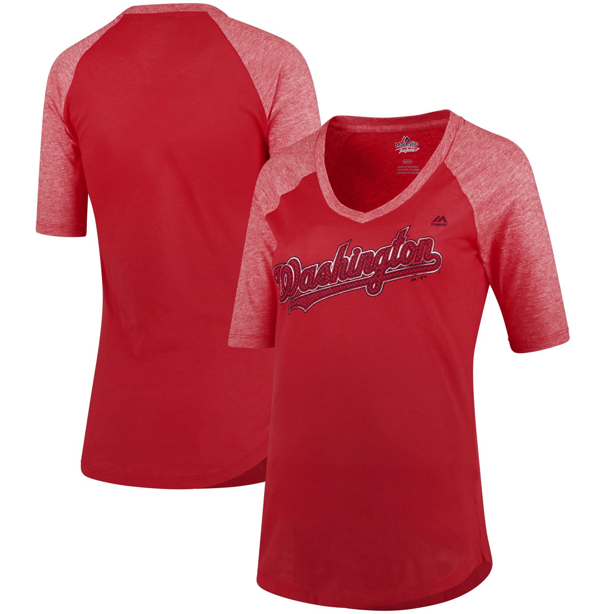 Washington Nationals Majestic Women's Quick Hands Raglan Half-Sleeve T-Shirt - Red