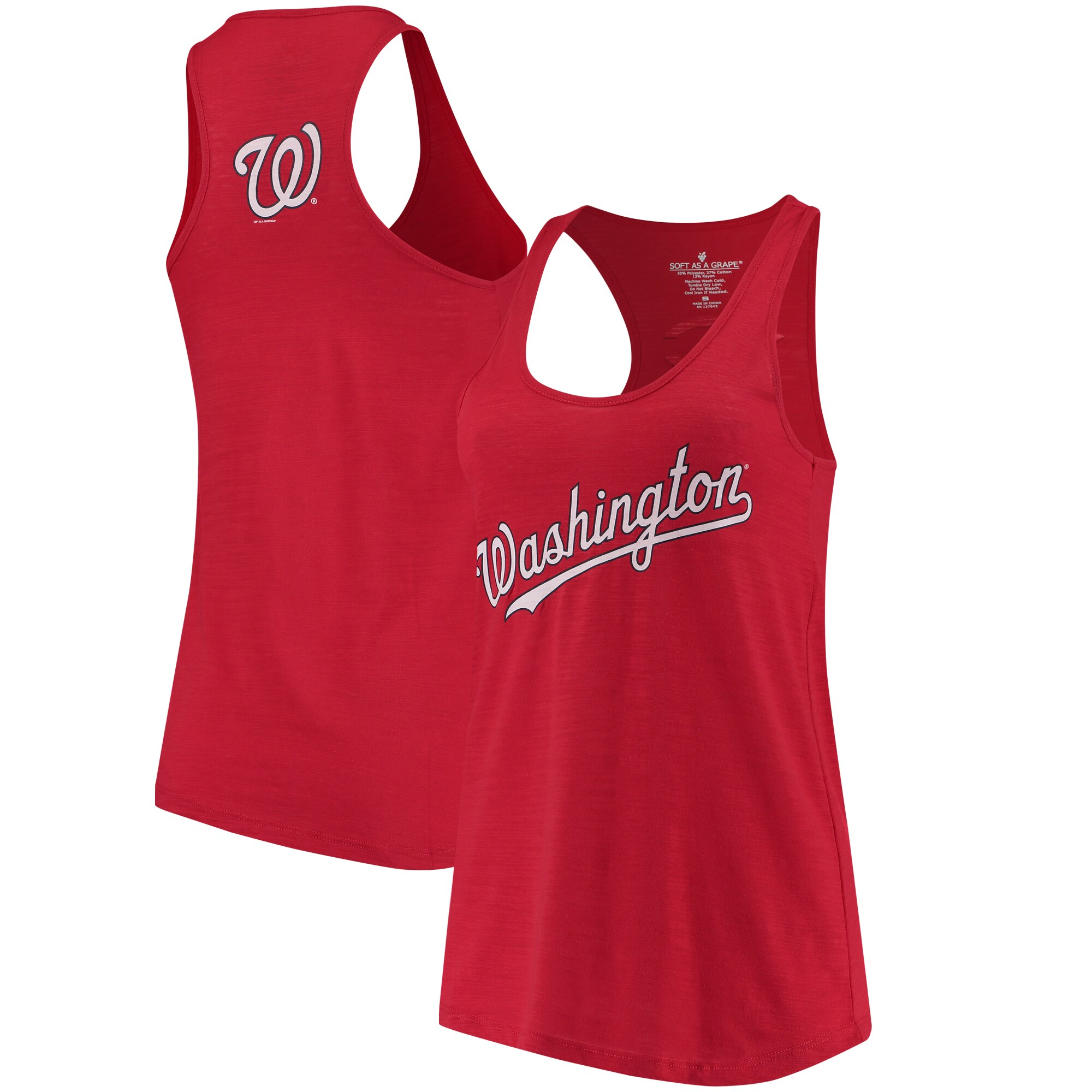 Washington Nationals Soft As A Grape Women's Front & Back Tri-Blend Racerback Tank Top - Red