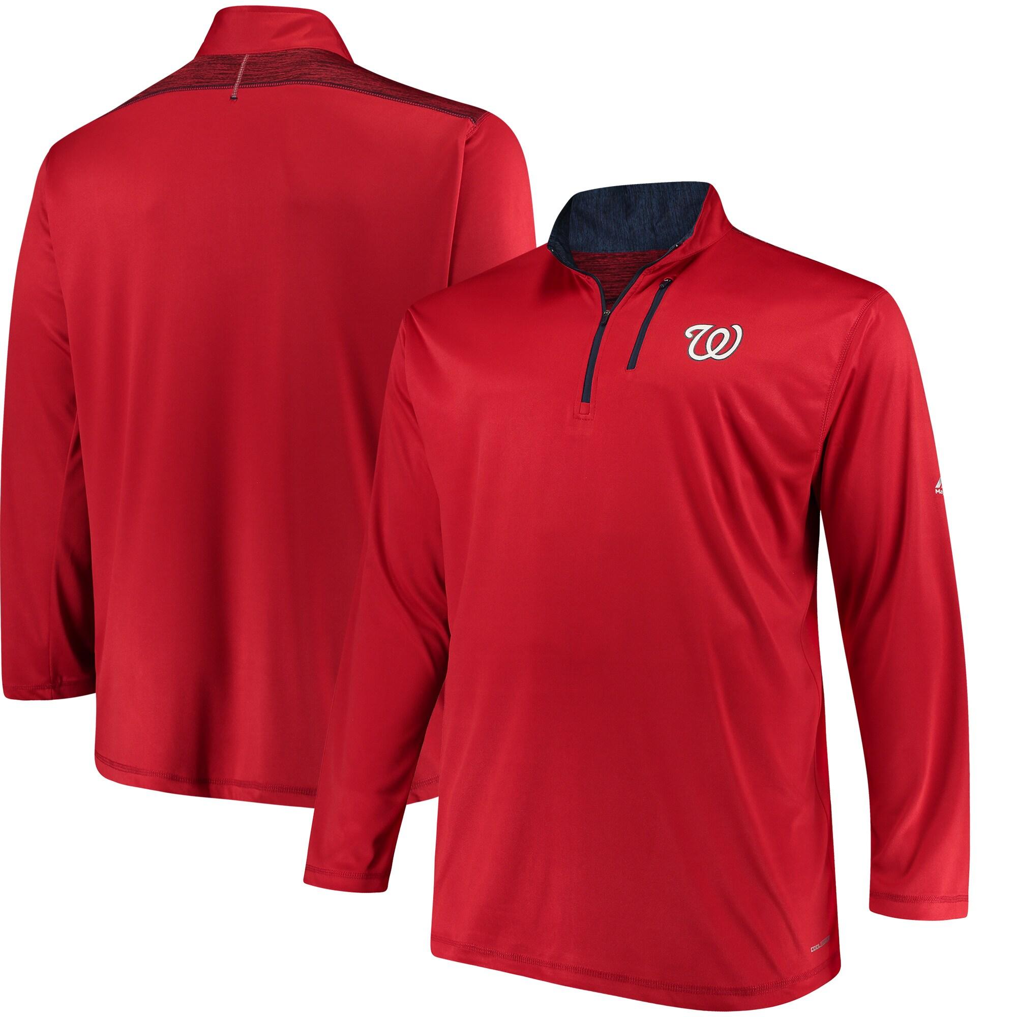 Washington Nationals Majestic Big & Tall 643 Half-Zip Pullover Jacket - Red