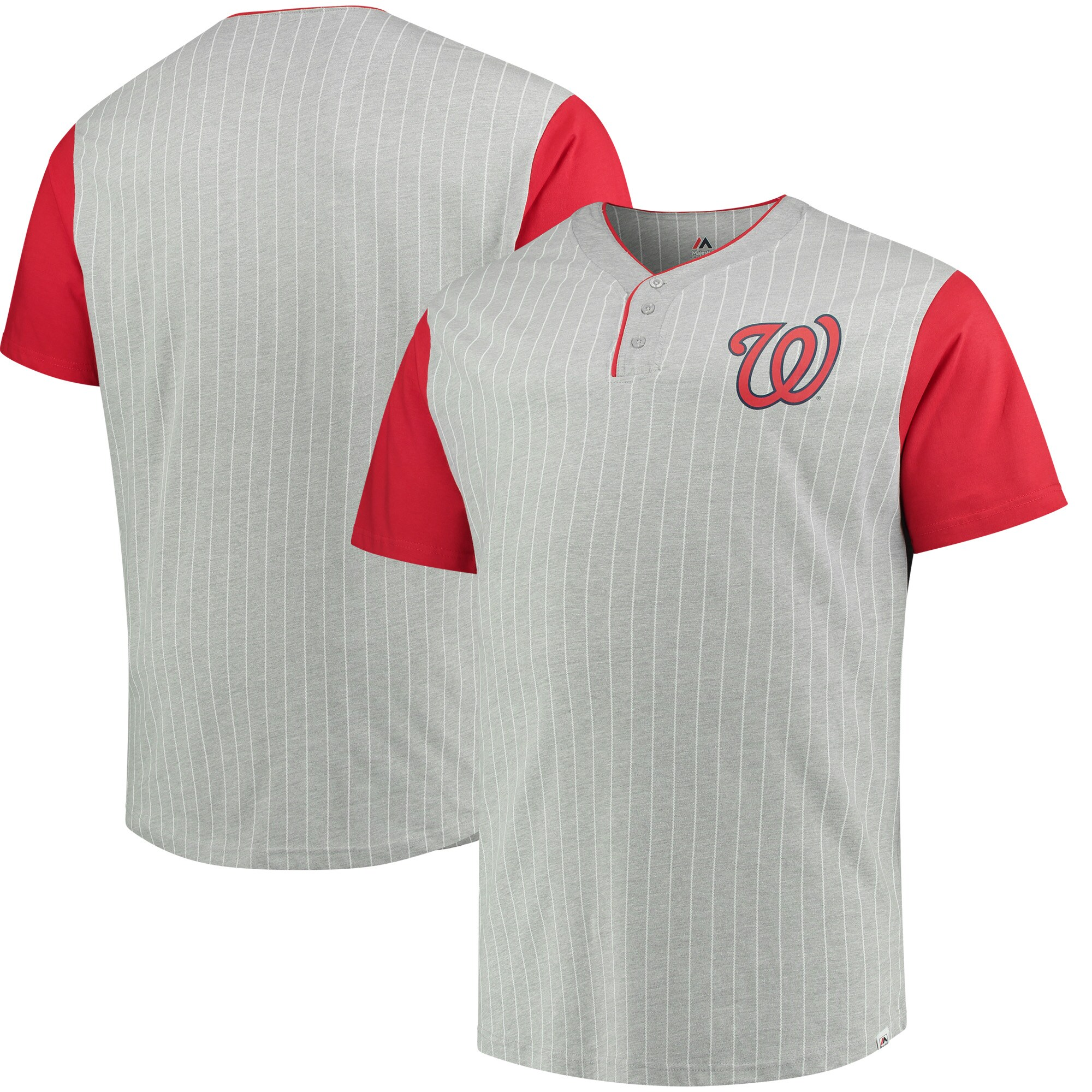 Washington Nationals Majestic Big & Tall Life or Death Pinstripe Henley T-Shirt - Gray/Red