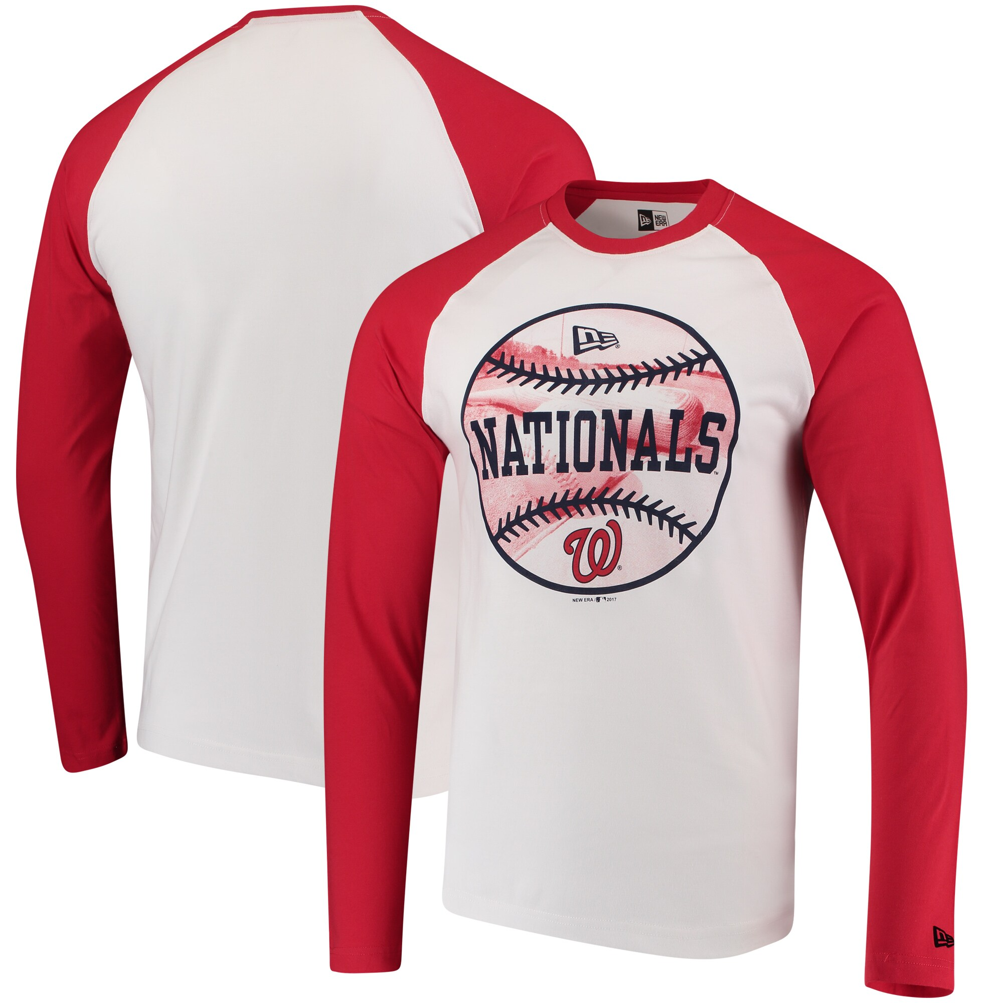 Washington Nationals New Era Raglan Long Sleeve T-Shirt - White/Red