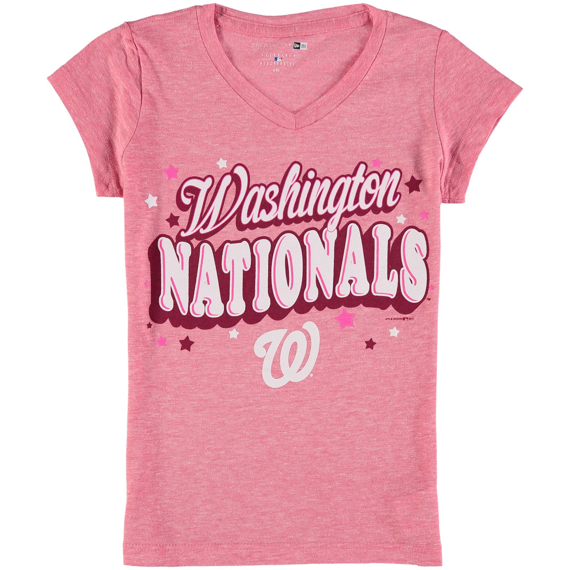 Washington Nationals 5th & Ocean by New Era Girls Youth Stars Tri-Blend V-Neck T-Shirt - Pink