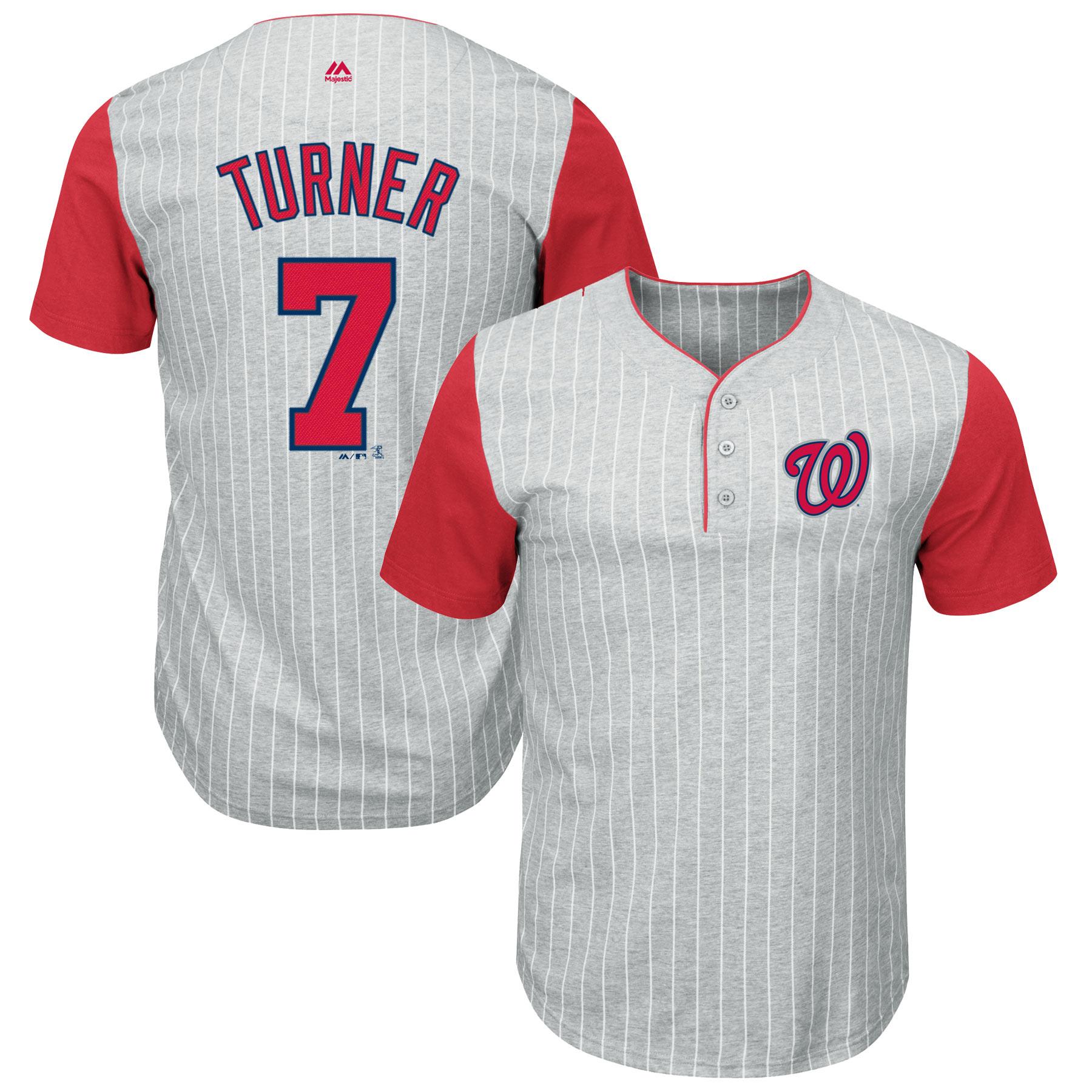 Trea Turner Washington Nationals Majestic Big & Tall Pinstripe Player T-Shirt - Gray/Red