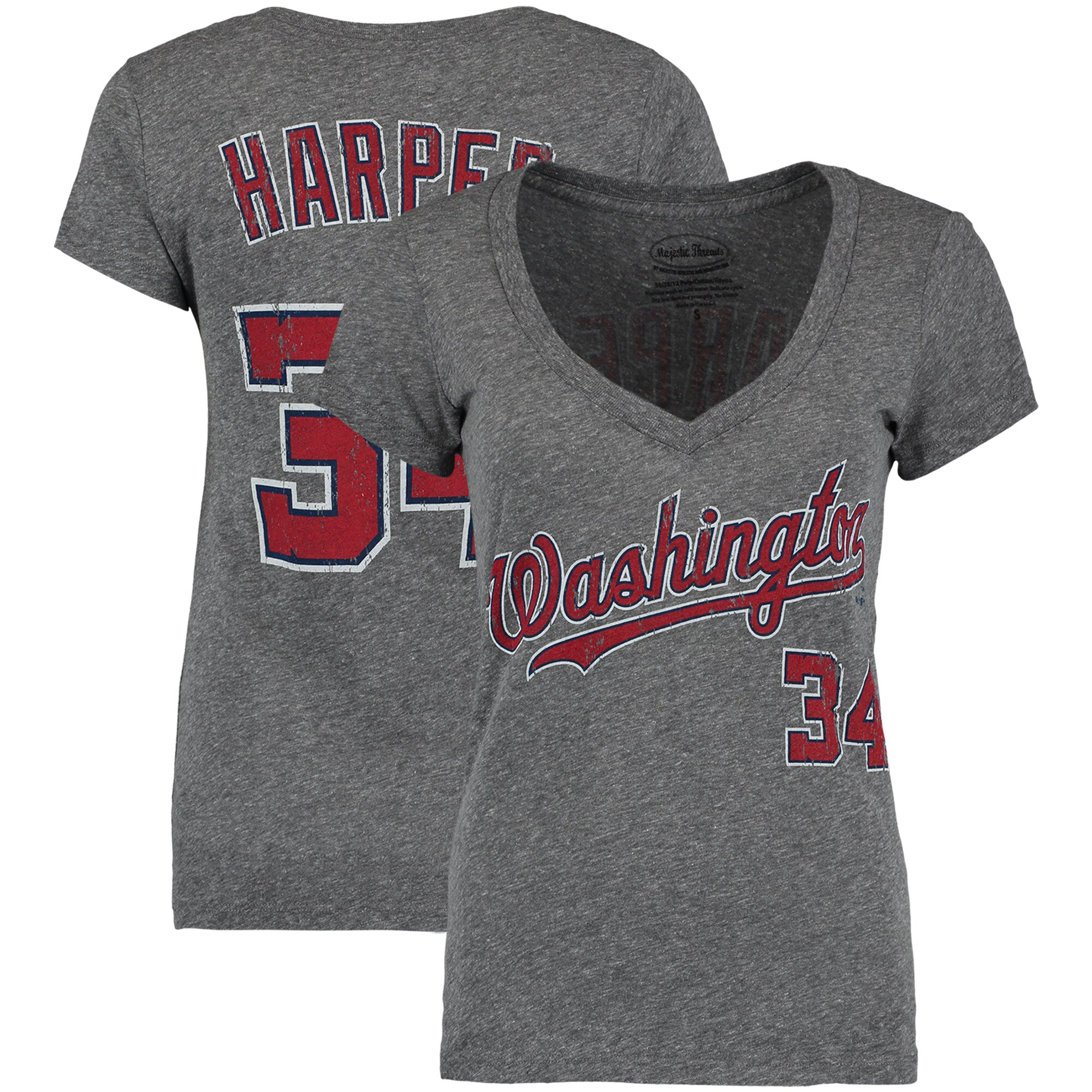 Bryce Harper Washington Nationals Majestic Threads Women's Name and Number V-Neck T-Shirt - Gray