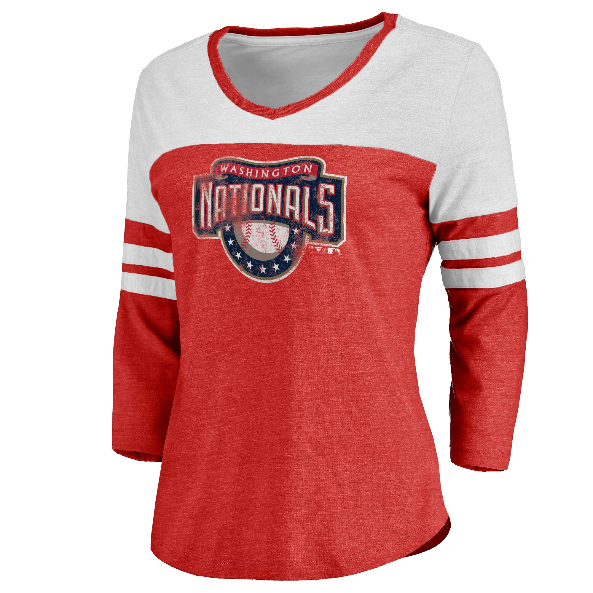 Washington Nationals Women's Cooperstown Two-Tone Three-Quarter Sleeve Tri-Blend T-Shirt - Red/White