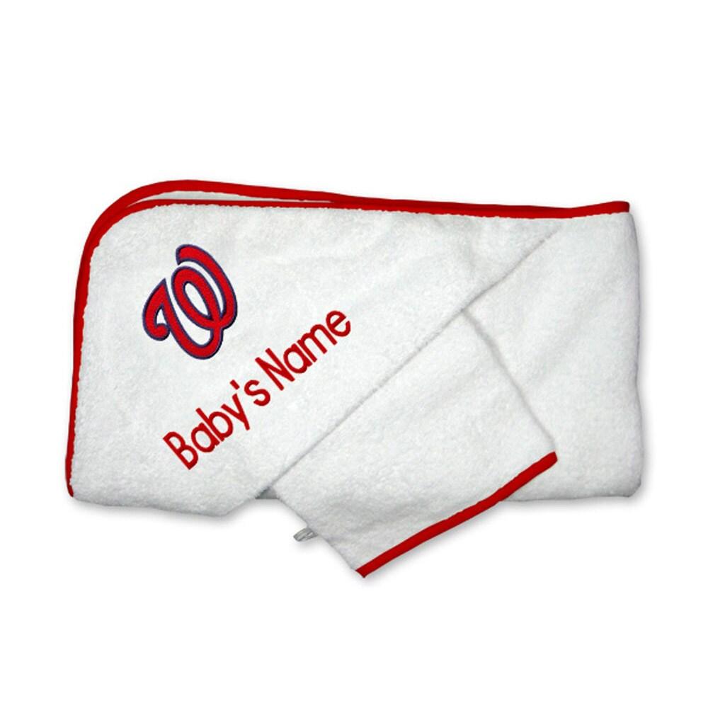Washington Nationals Infant Personalized Hooded Towel & Mitt Set - White